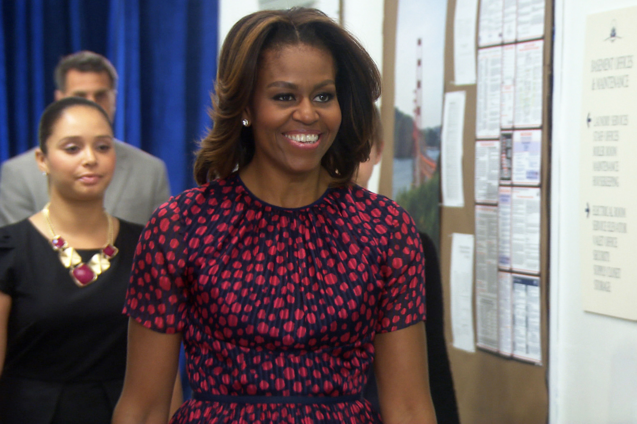 First lady Michelle Obama on Parks and Recreation, 2014.