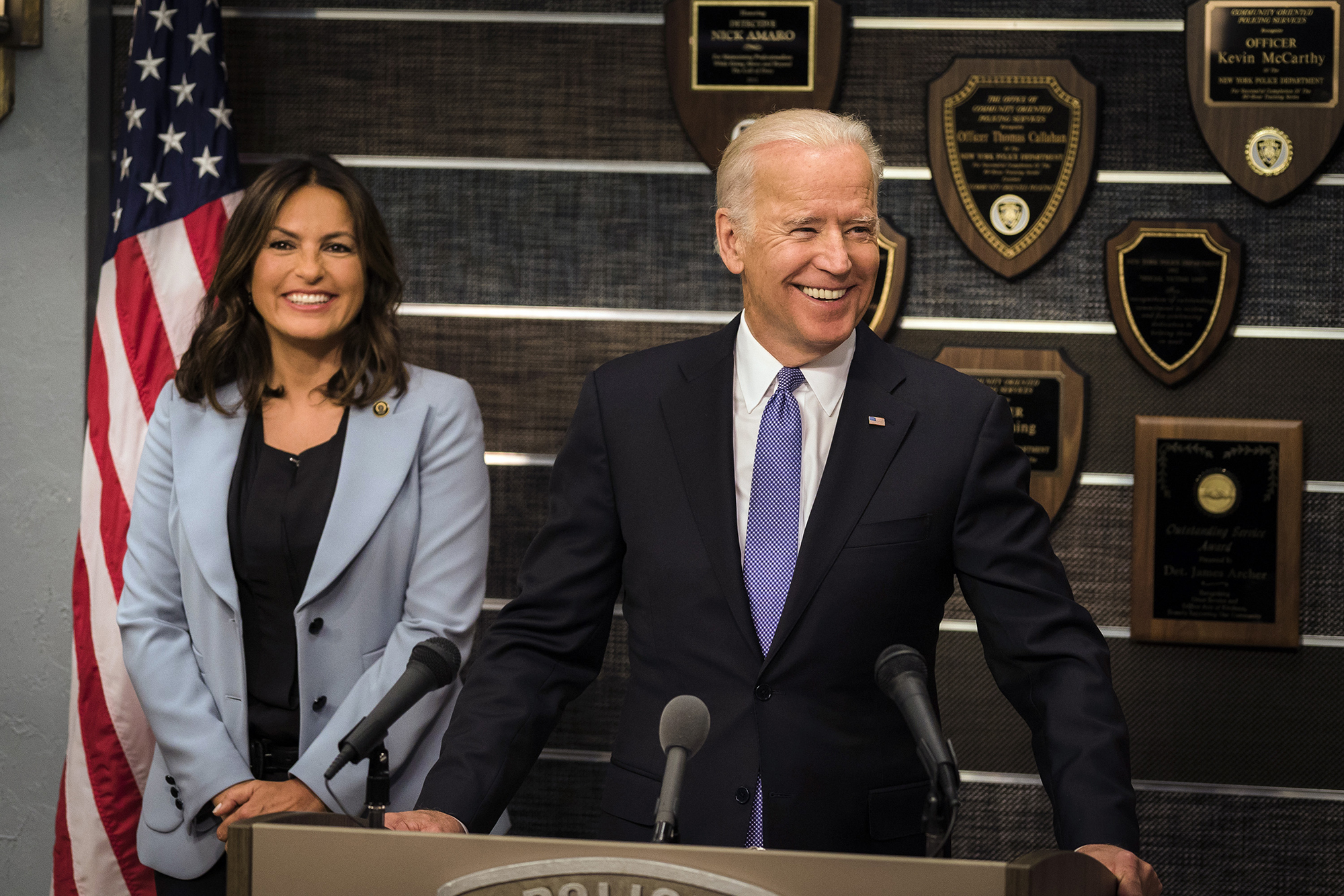 Mariska Hargitay and Vice President Joe Biden on Law & Order: SVU, 2016.