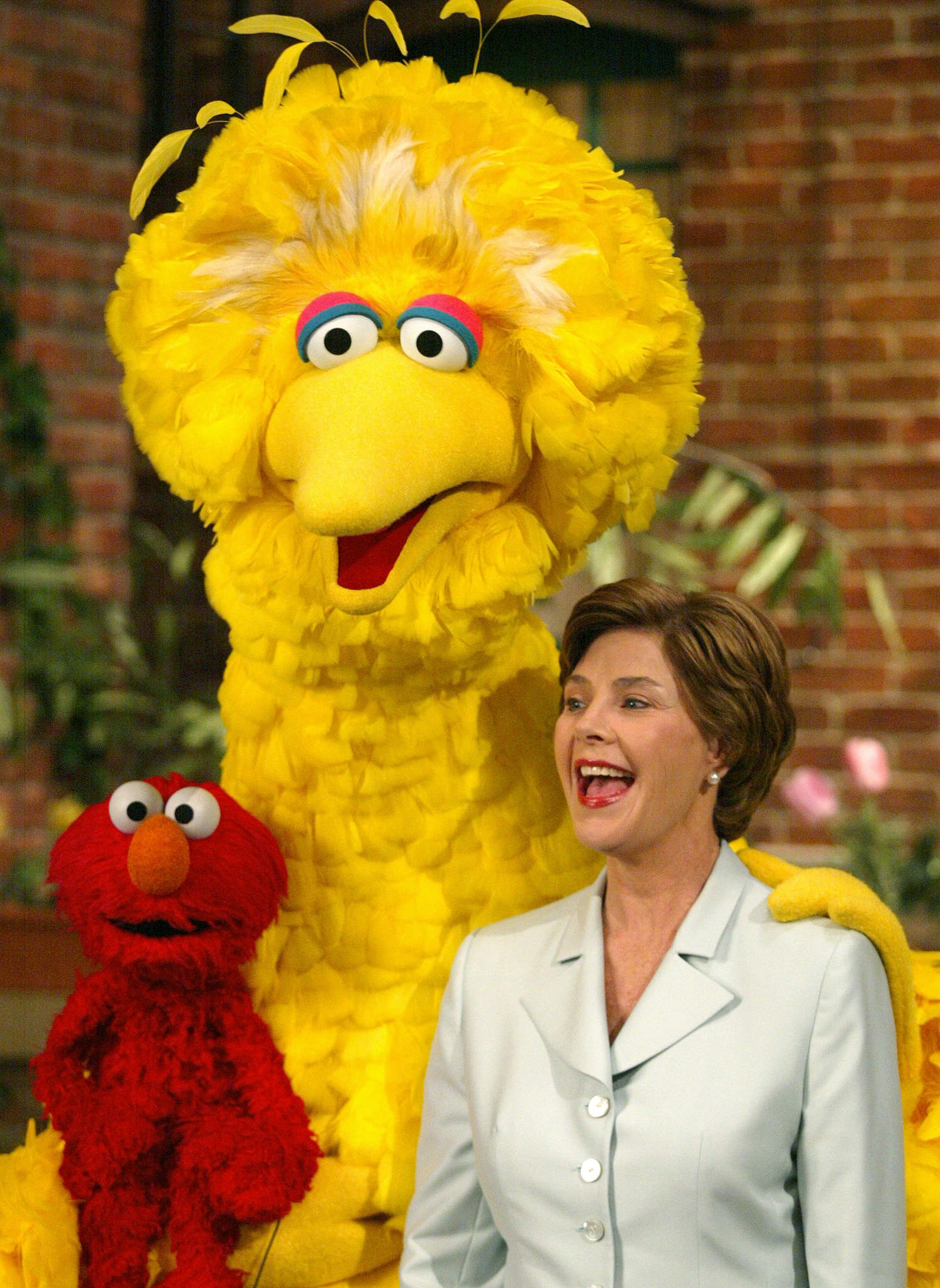 Former first lady Laura Bush with Big Bird and Elmo on Sesame Street, 2002.