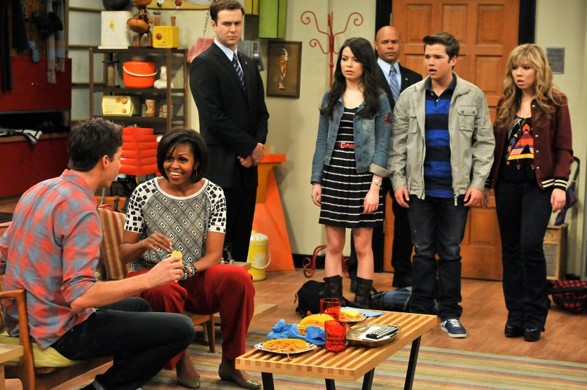 Michelle Obama speaks to Jerry Trainor on iCarly, 2011.