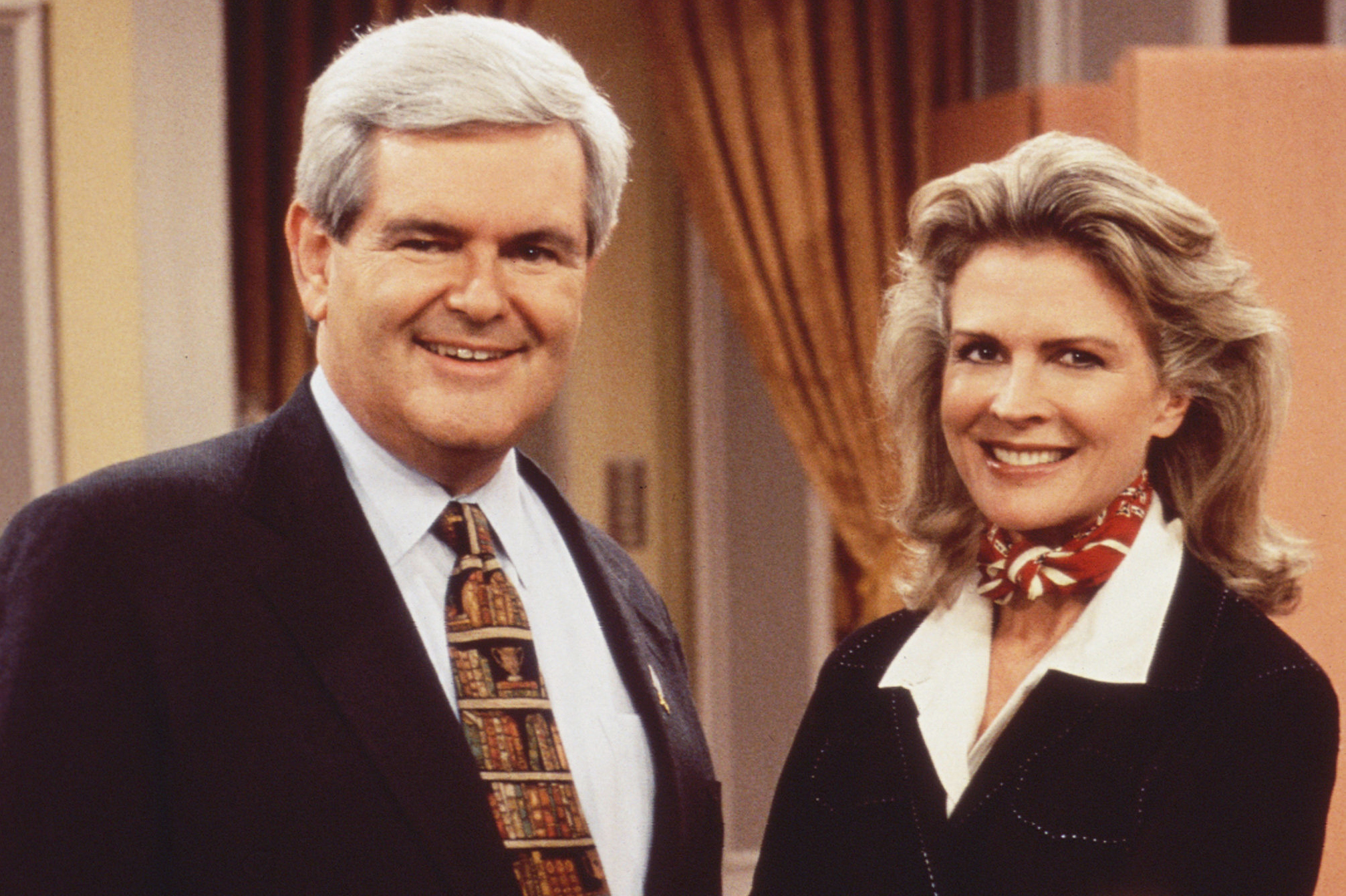 Former Speaker of the House Newt Gingrich and Candice Bergen on Murphy Brown, 1996.