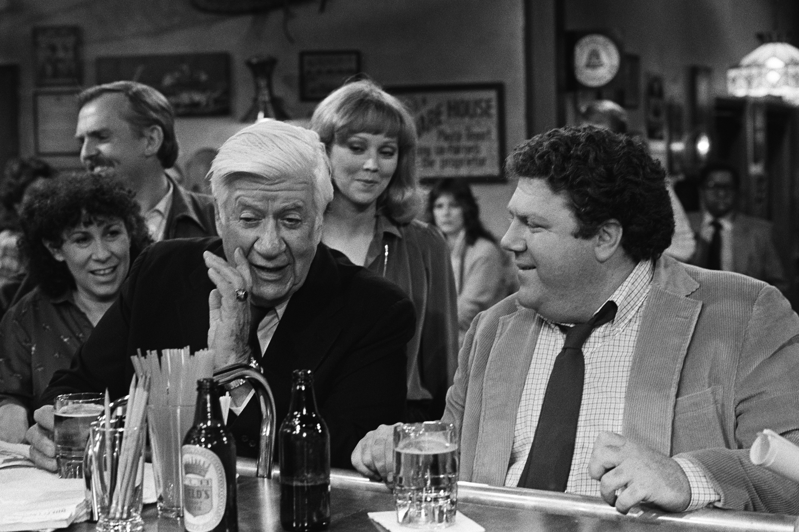 From left: Rhea Perlman, John Ratzenberger, former Speaker of the House Tip O'Neill, Shelley Long and George Wendt on Cheers, 1983.