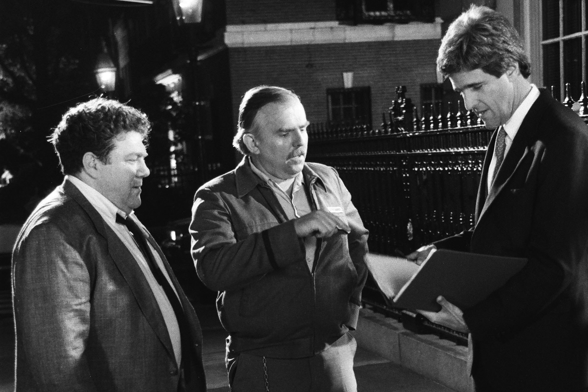 From left: George Wendt, John Ratzenberger and Secretary of State John Kerry on Cheers,  1991.