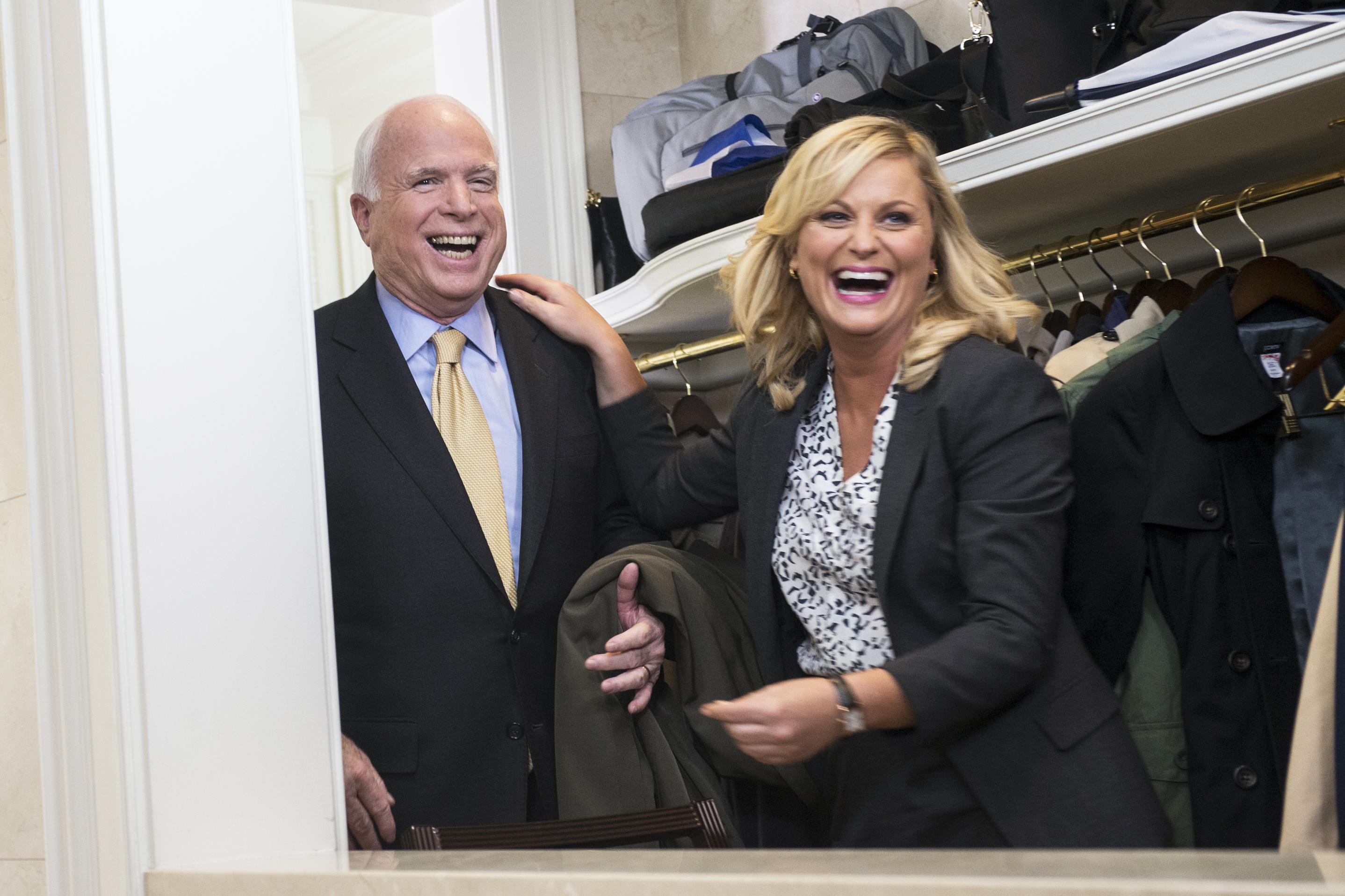 Senator John McCain and Amy Poehler on Parks and Recreation, 2012.