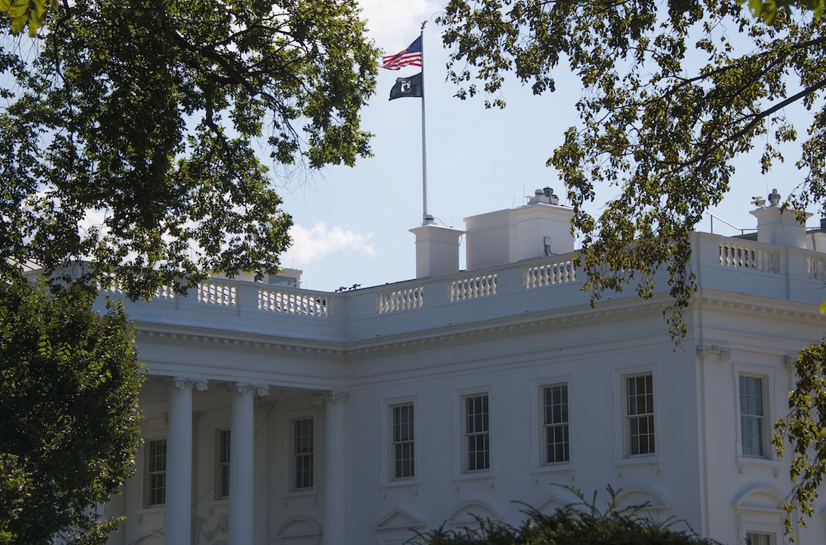 A Prisoners of War/Missing in Action (POW/MIA) flag flies over the White House on Sept. 18, 2015, for National POW/MIA recognition day.