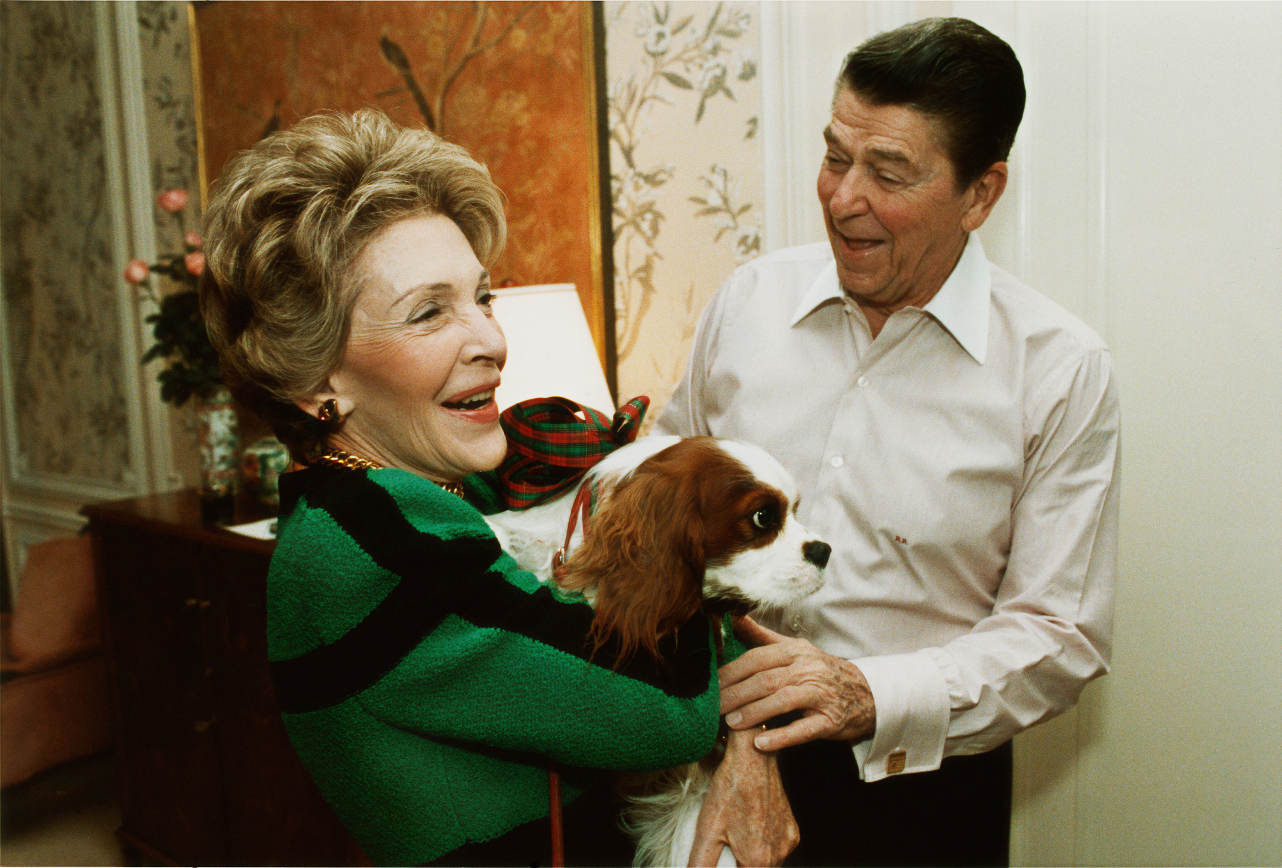 Ronald Reagan presents First Lady, Nancy Reagan, with an early Christmas present of a King Charles Spaniel named Rex, at their suite in a New York City hotel, Dec. 6, 1985.