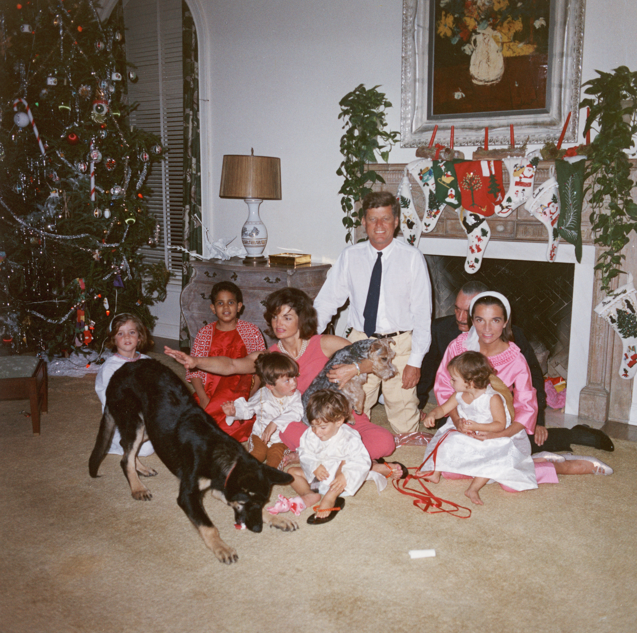 John F. Kennedy and  Jacqueline Kennedy pose with their family on Christmas Day at the White House, Dec. 25, 1962.