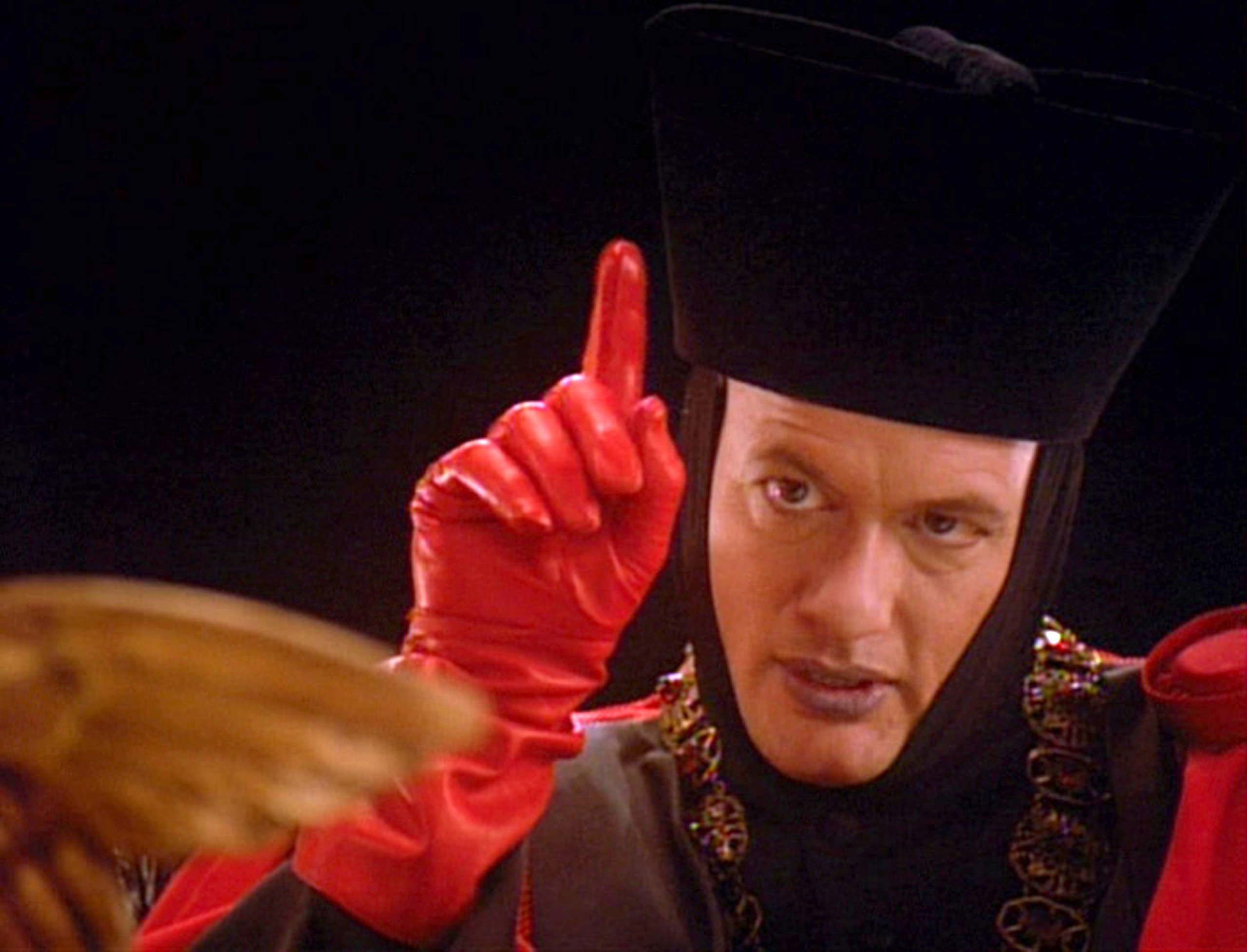 American actor John de Lancie (as Q) in a scene from the final episode of the television series 'Star Trak: The Next Generation'