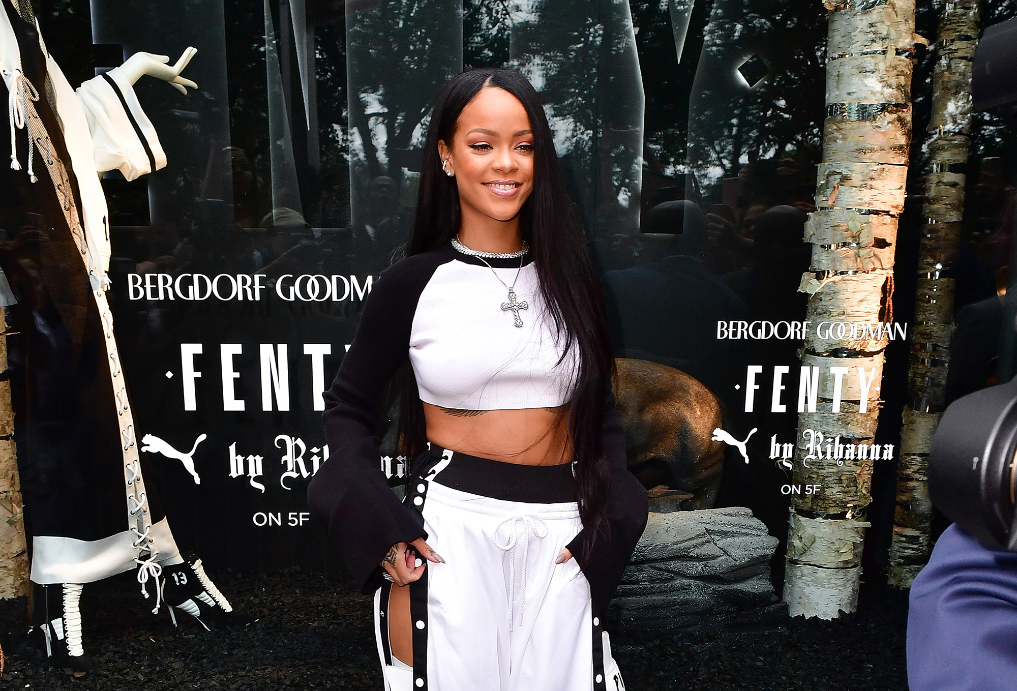 Rihanna attends the Launch of FENTY PUMA By Rihanna at Bergdorf Goodman  on September 6, 2016 in New York City.  (Photo by James Devaney/GC Images)