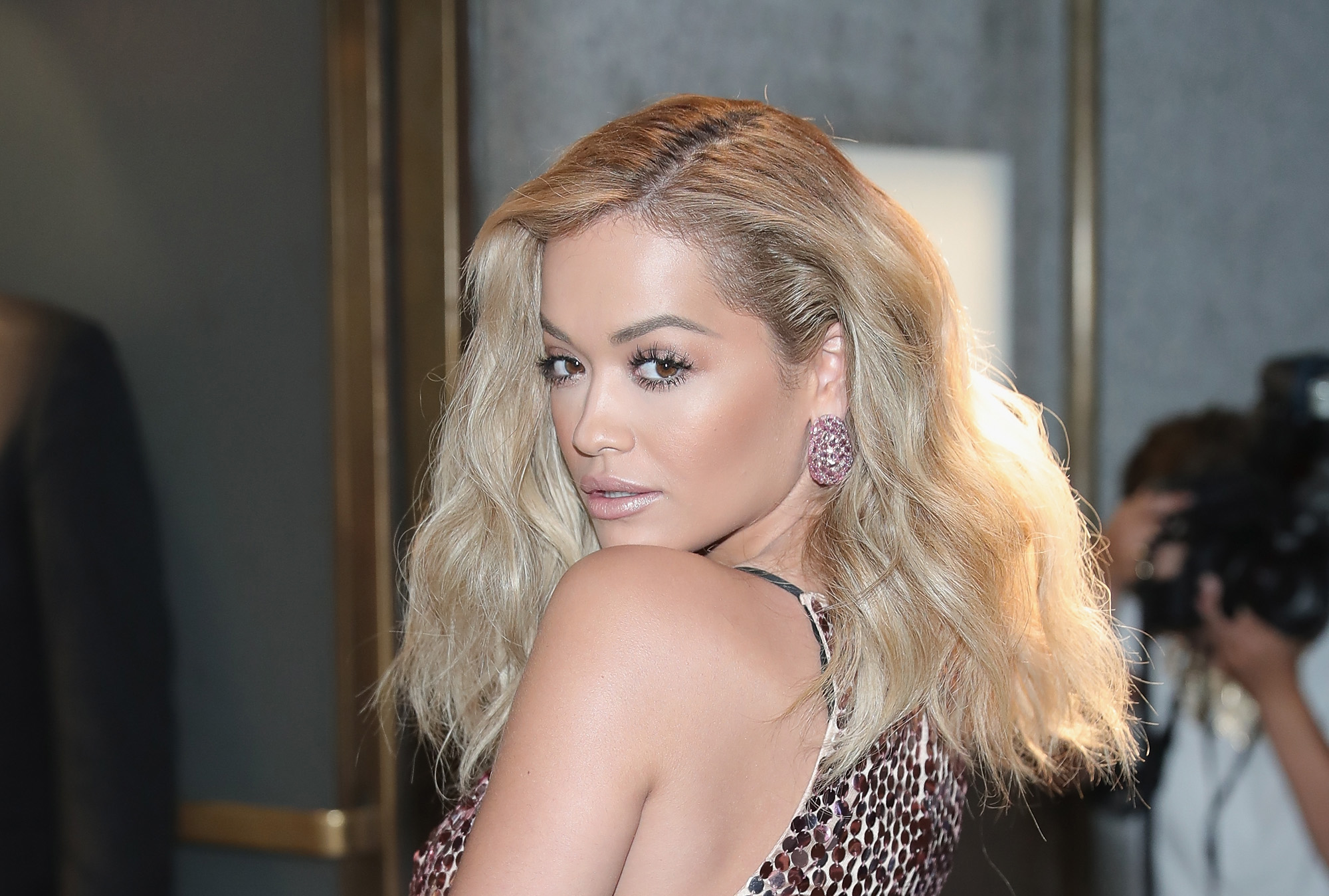 Rita Ora attends Tom Ford fashion show during New York Fashion Week September 2016 at 99E 52d St. on September 7, 2016 in New York City.  (Photo by Neilson Barnard/Getty Images)