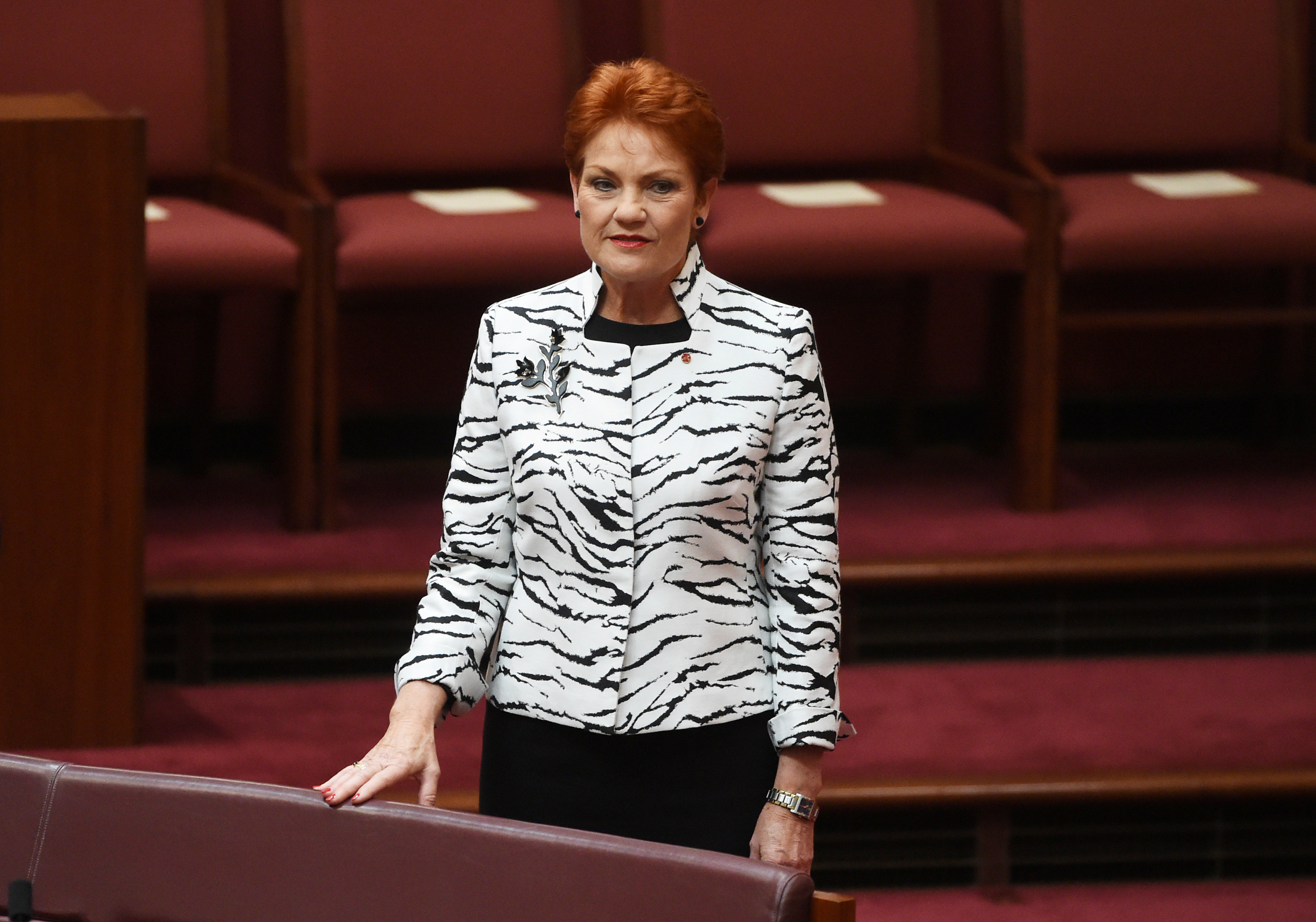 Australia's One Nation party Senator Pauline Hanson is pictured in the Senate chamber on the opening day of the new parliamentary session in Canberra, on Aug. 30, 2016