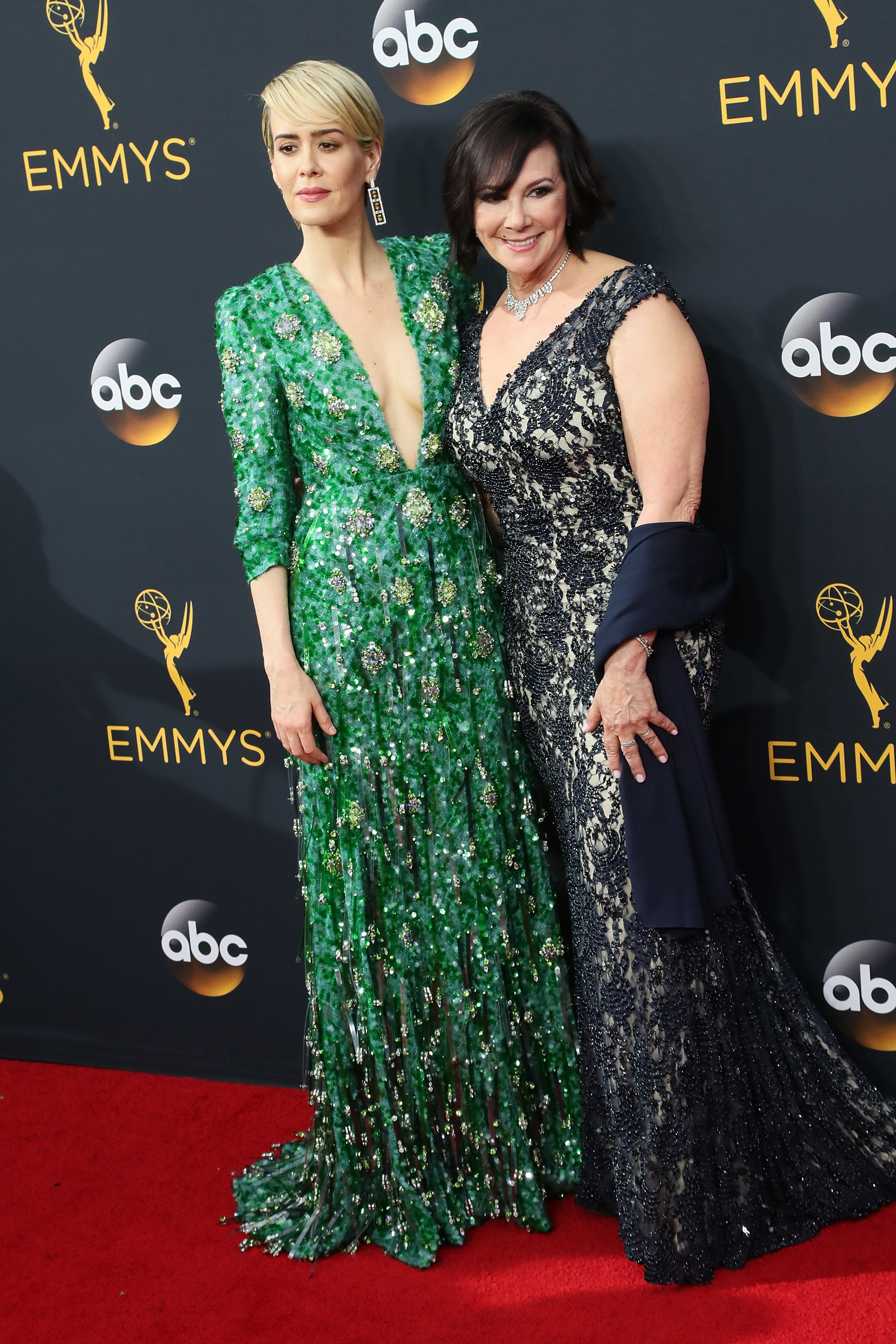 Actress Sarah Paulson and Prosecutor/author Marcia Clark arrive at the 68th Annual Primetime Emmy Awards at the Microsoft Theater on September 18, 2016 in Los Angeles, California.
