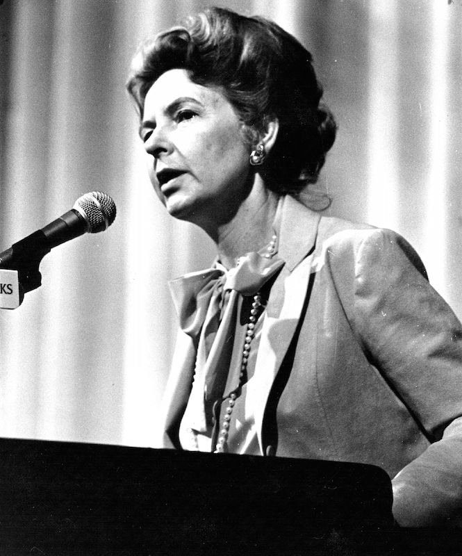 Phyllis Schlafly speaks on Apr. 25, 1981