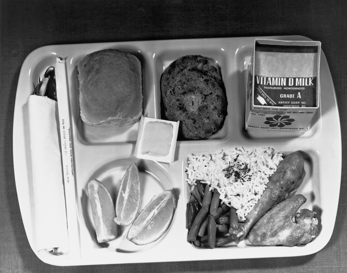 A school lunch as specified by the Dept. of Agriculture, Washington, D.C.,  June 1, 1966.