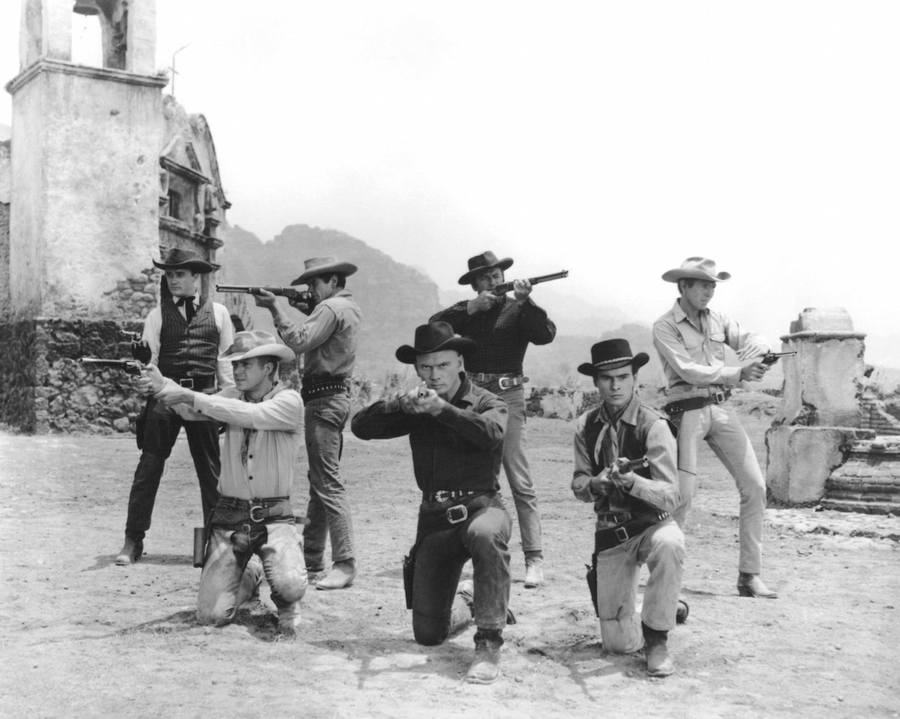 The principle cast in a publicity still for 'The Magnificent Seven', directed by John Sturges, 1960.