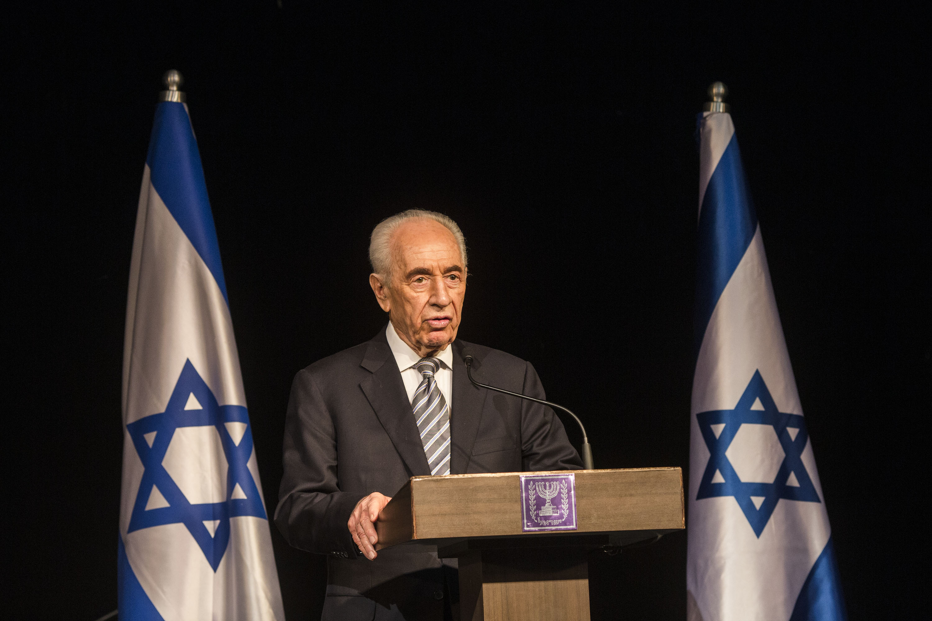 President Shimon Peres speaks during a press conference for foreign media in Sderot, Israel, on July 6, 2014.