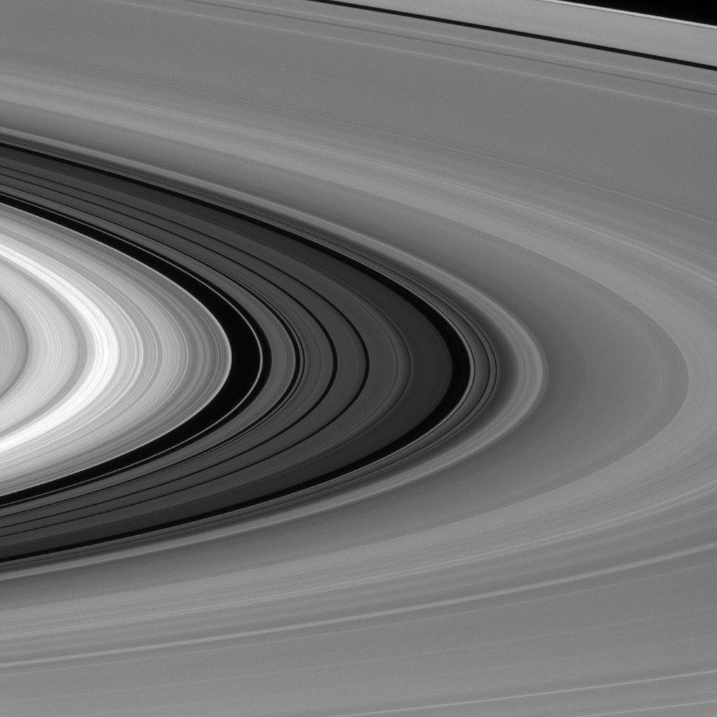 The 2,980-mile-wide Cassini Division in Saturn's rings on the sunlit side of the rings from about 4 degrees above the ring plane, Jan. 28, 2016.