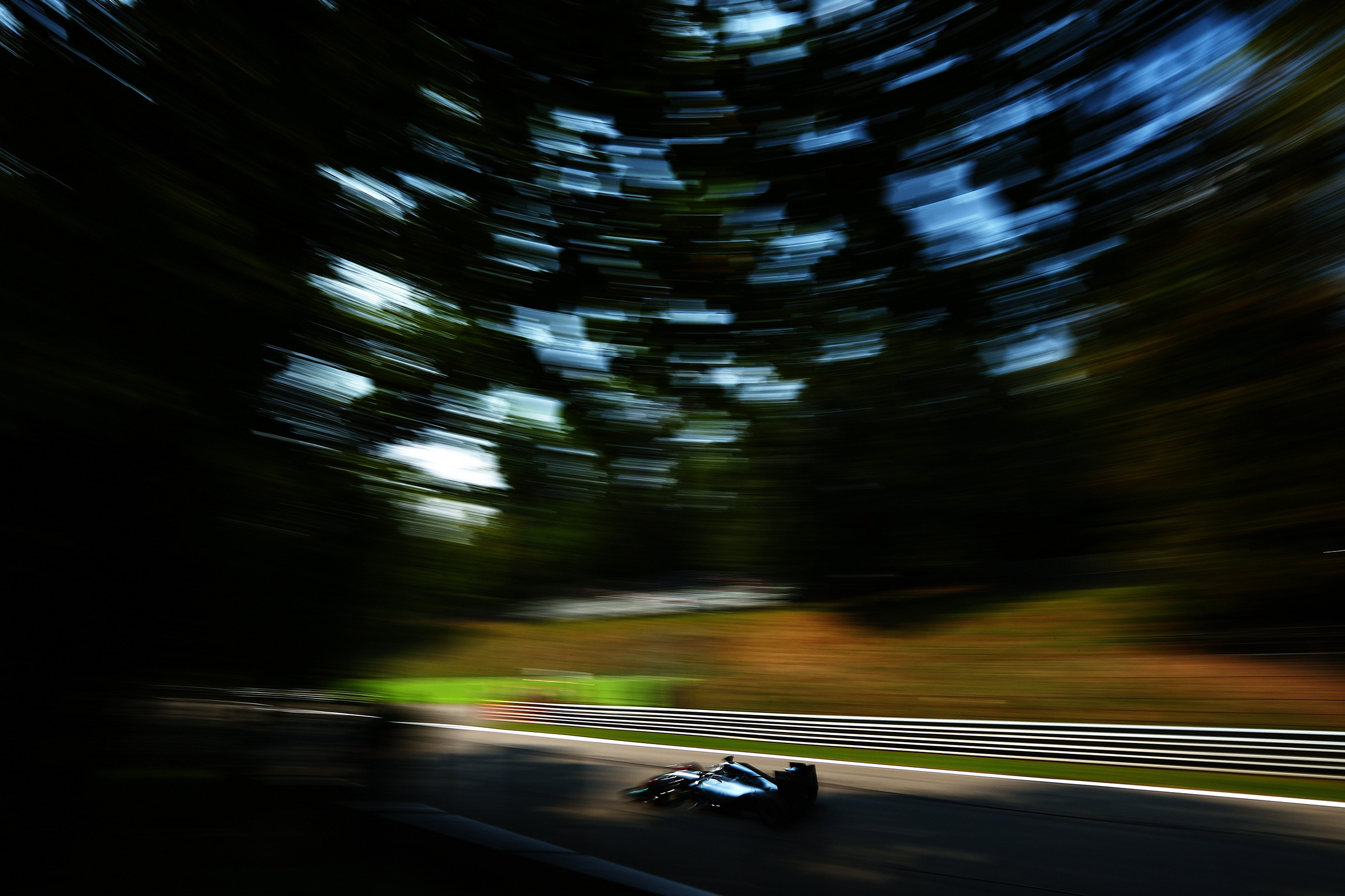 Lewis Hamilton of Great Britain driving the (44) Mercedes AMG Petronas F1 Team Mercedes F1 WO7 Mercedes PU106C Hybrid turbo on track during qualifying for the Formula One Grand Prix of Italy at Autodromo di Monza in Monza, Italy, on Sept. 3, 2016.