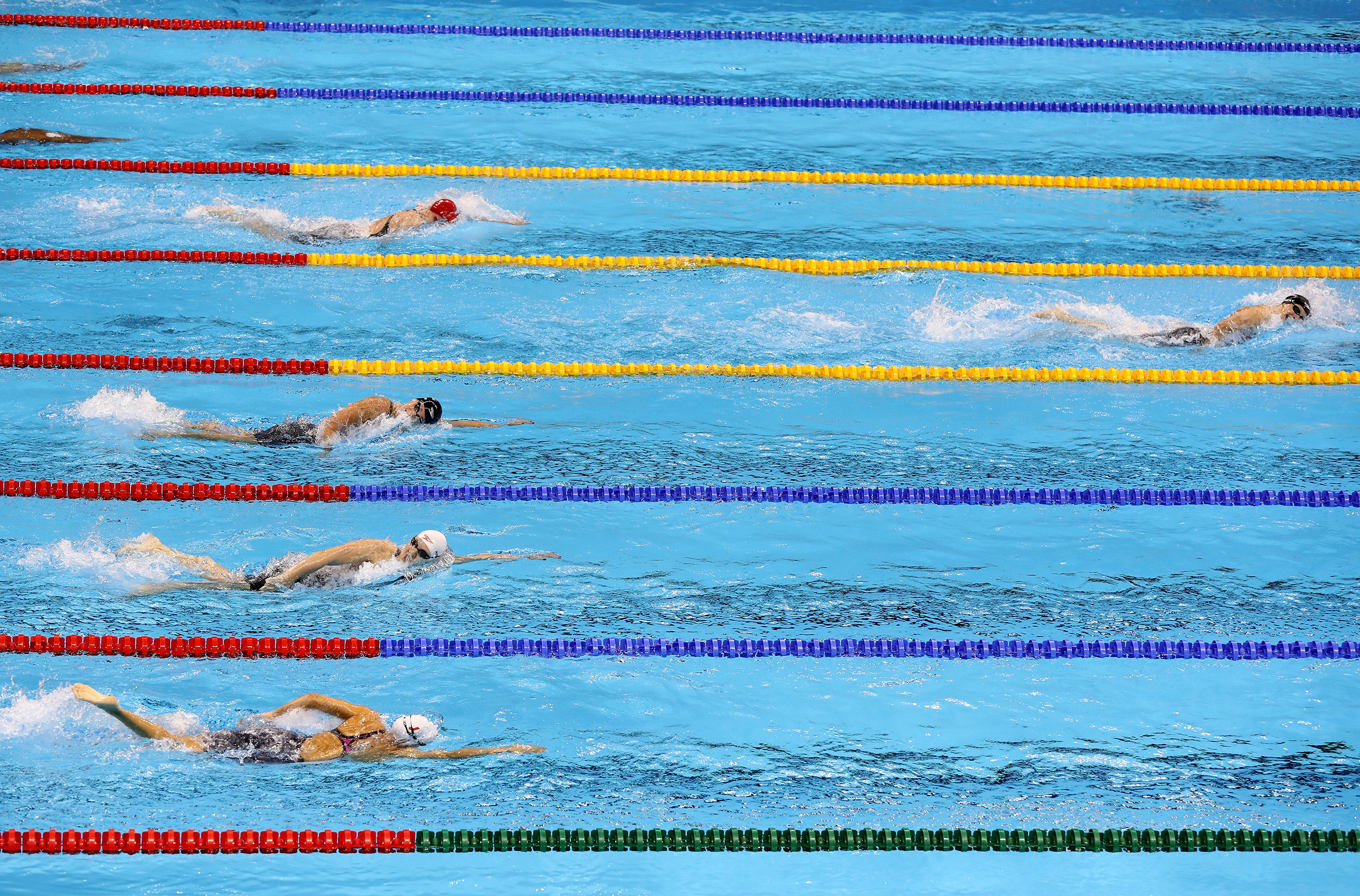 Katie Ledecky of the United States competes in the Women's 400m Freestyle Final on Day 2 of the Rio 2016 Olympic Games at the Olympic Aquatics Stadium on Aug. 7, 2016.