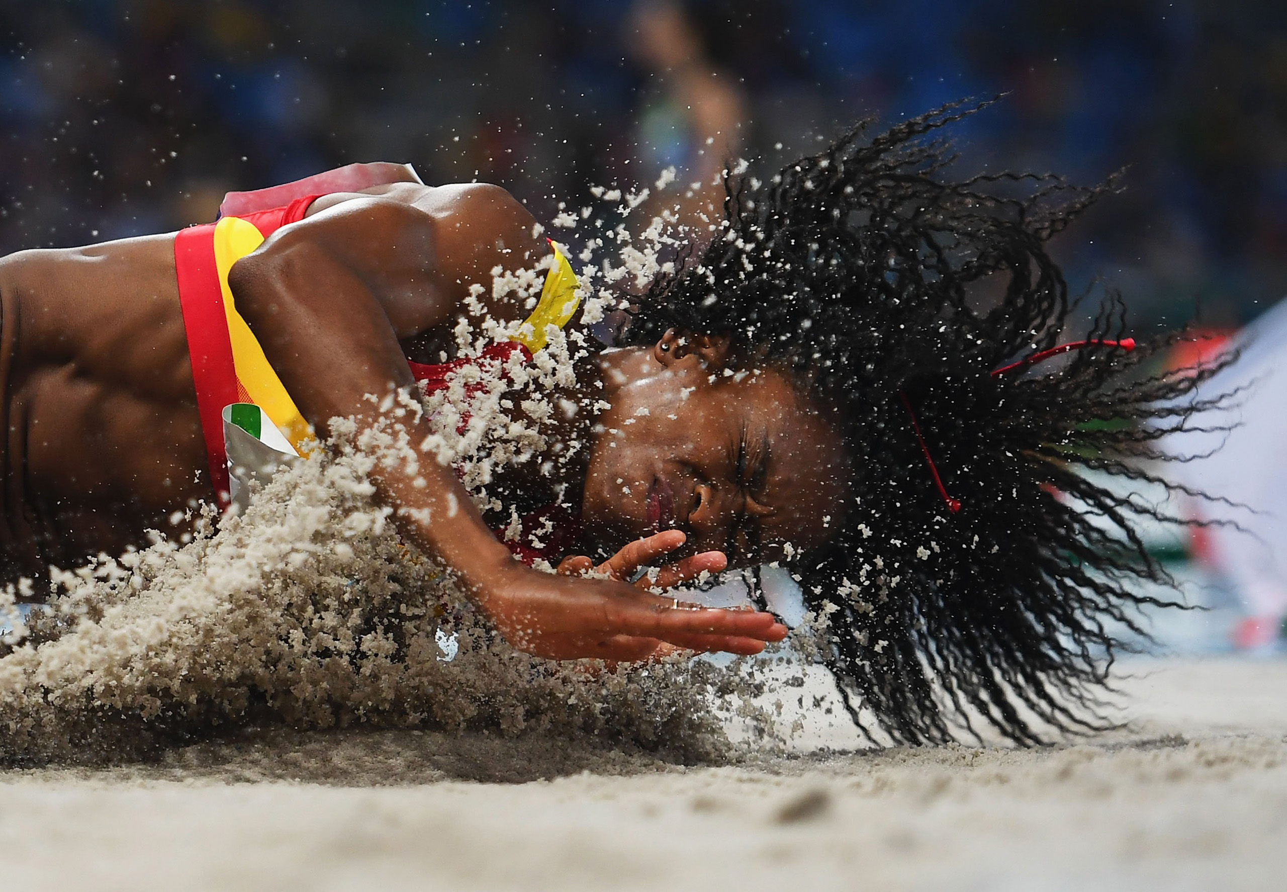 Juliet Itoya of Spain competes during the Women's Long Jump Qualifying Round on Day 11 of the Rio 2016 Olympic Games at the Olympic Stadium in Rio de Janeiro, Brazil, on Aug. 16, 2016.