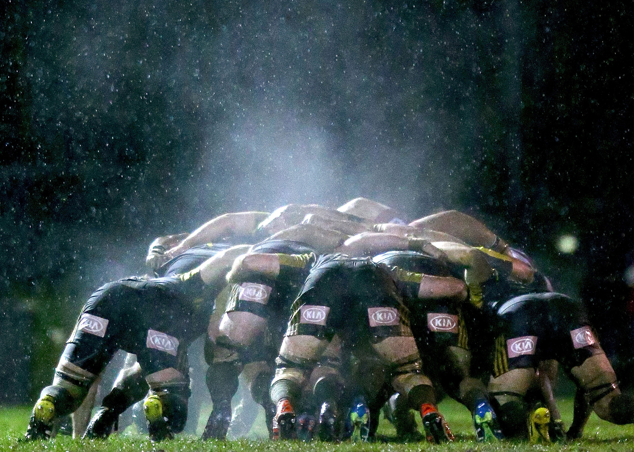 Steam rises from a scrum during the Super Rugby Exhibition match between the Rebels and the Hurricanes at Harlequins Rugby Club in Melbourne, Australia, on June 23, 2016.