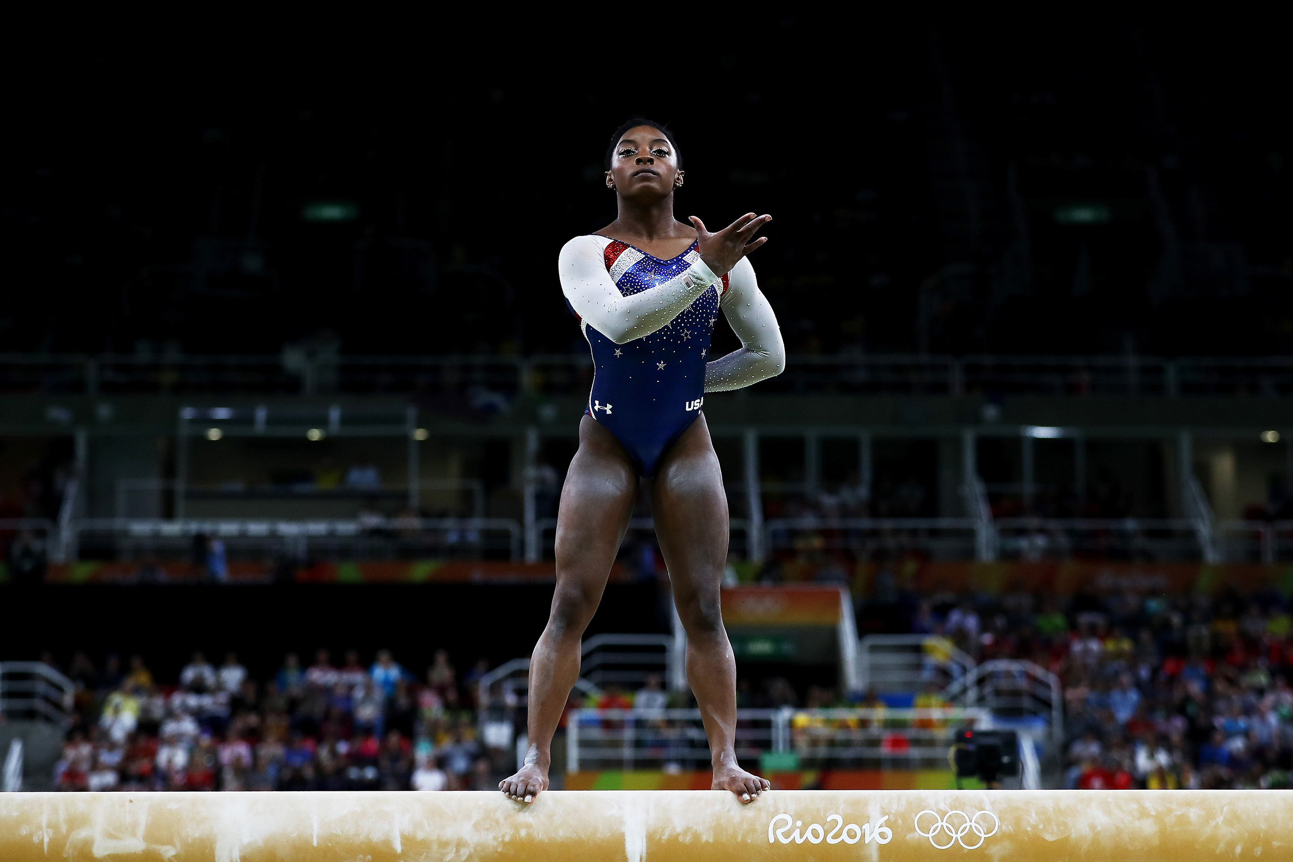 Simone Biles of the United States competes on the balance beam during the Women's Individual All Around Final on Day 6 of the 2016 Rio Olympics at Rio Olympic Arena on Aug. 11, 2016.