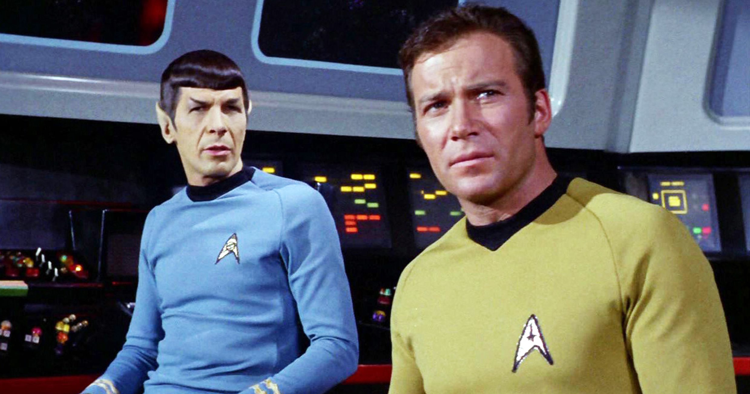 Leonard Nimoy as Mr. Spock and William Shatner as Captain James Kirk in Star Trek.