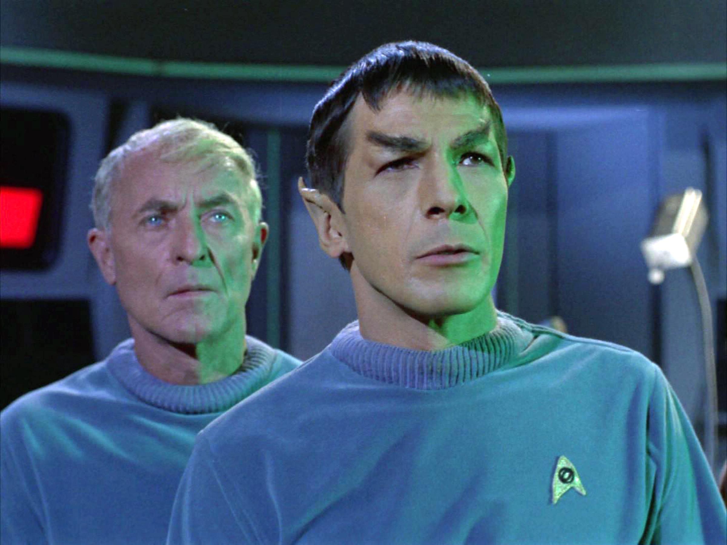 John Hoyt as Dr. Phillip Boyce and Leonard Nimoy as Mr. Spock.