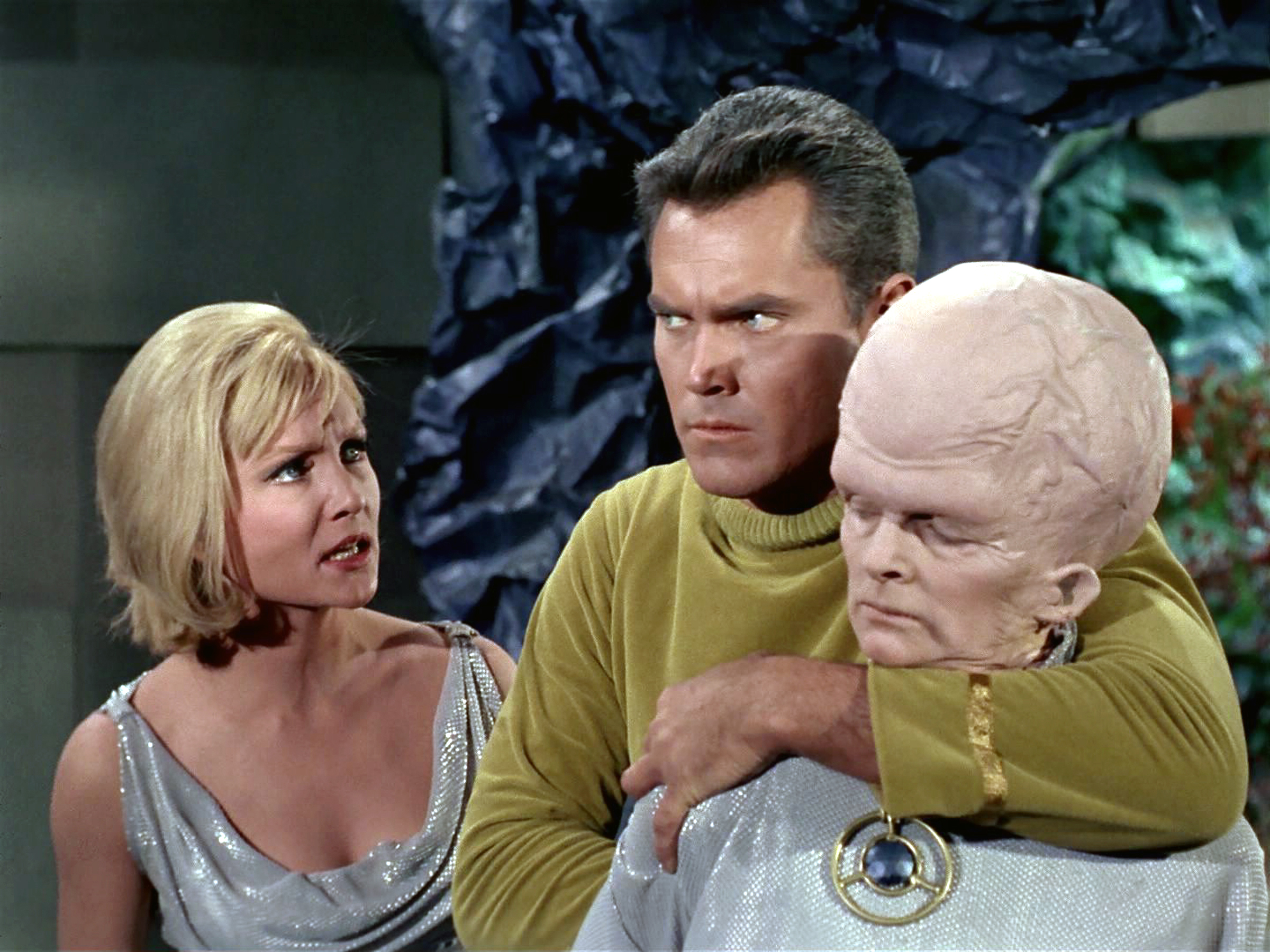 From left: Susan Oliver as Vina, Jeffrey Hunter as Captain Christopher Pike and Meg Wyllie as The Keeper in  The Cage.
