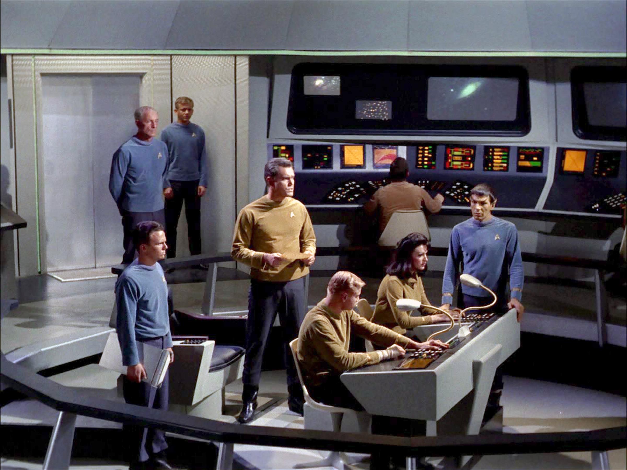 The crew on the bridge of the USS Enterprise.