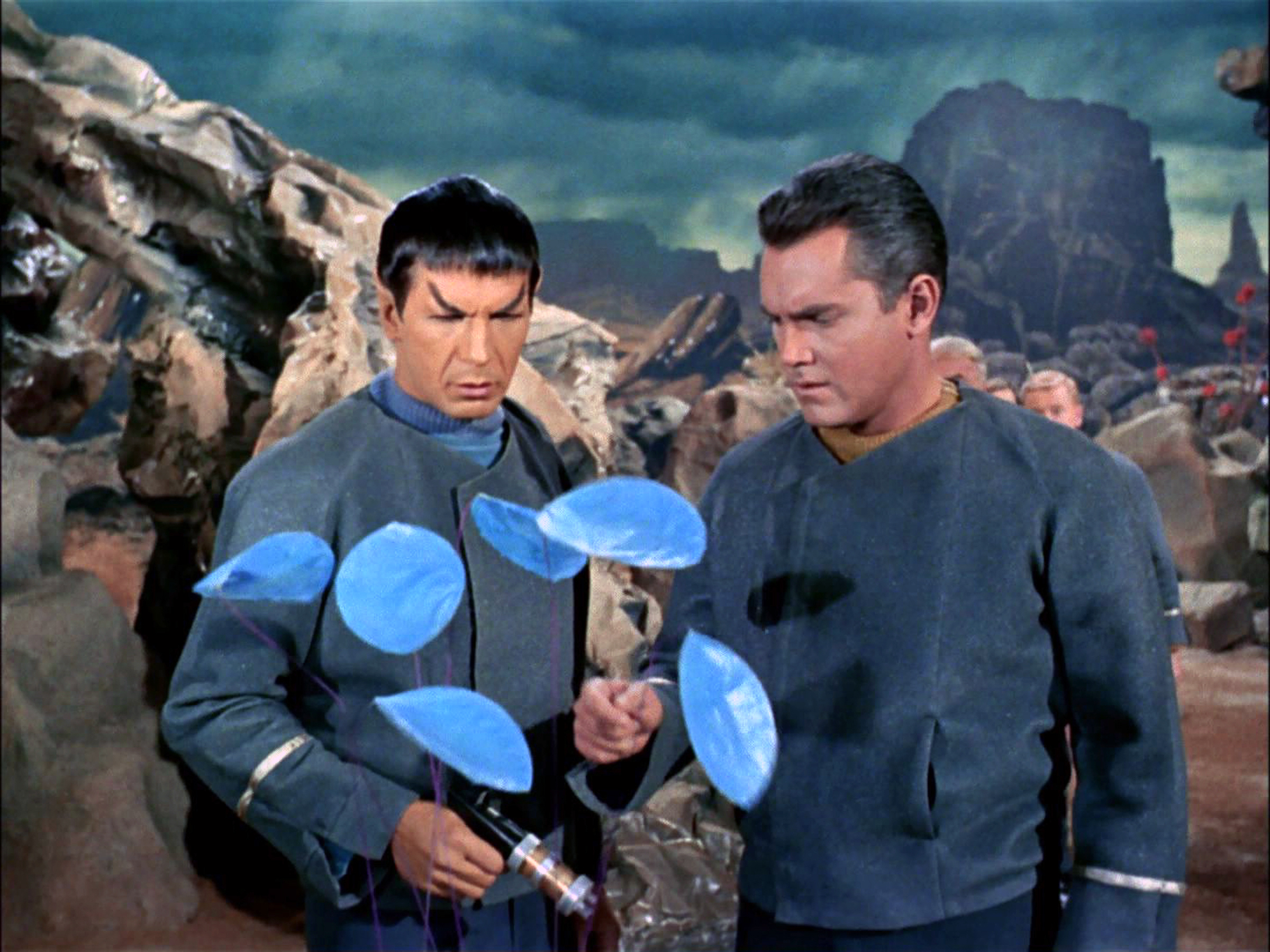Leonard Nimoy as Mr. Spock and Jeffrey Hunter as Captain Christopher Pike on the planet Talos IV.