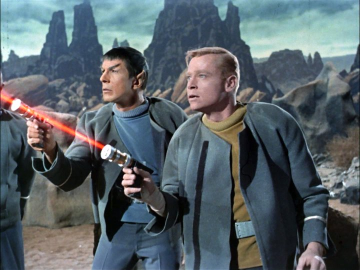 "Leonard Nimoy as Mr. Spock and Peter Duryea as Lieutenant José Tyler on the planet Talos IV in ""The Cage."""