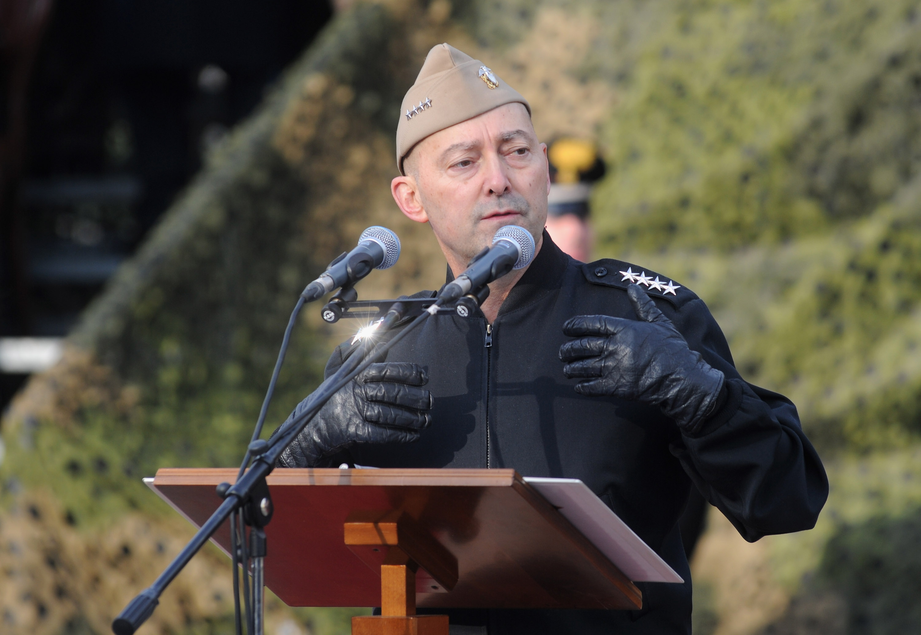 Former Supreme Allied Commander Europe Admiral James Stavridis makes a speech at the departure Ceremony for OTAN Rapid Deployable Corps - Italy bound for Afghanistan at Ugo Mara Barracks in Solbiate Olona, Italy, on Jan. 10, 2013.