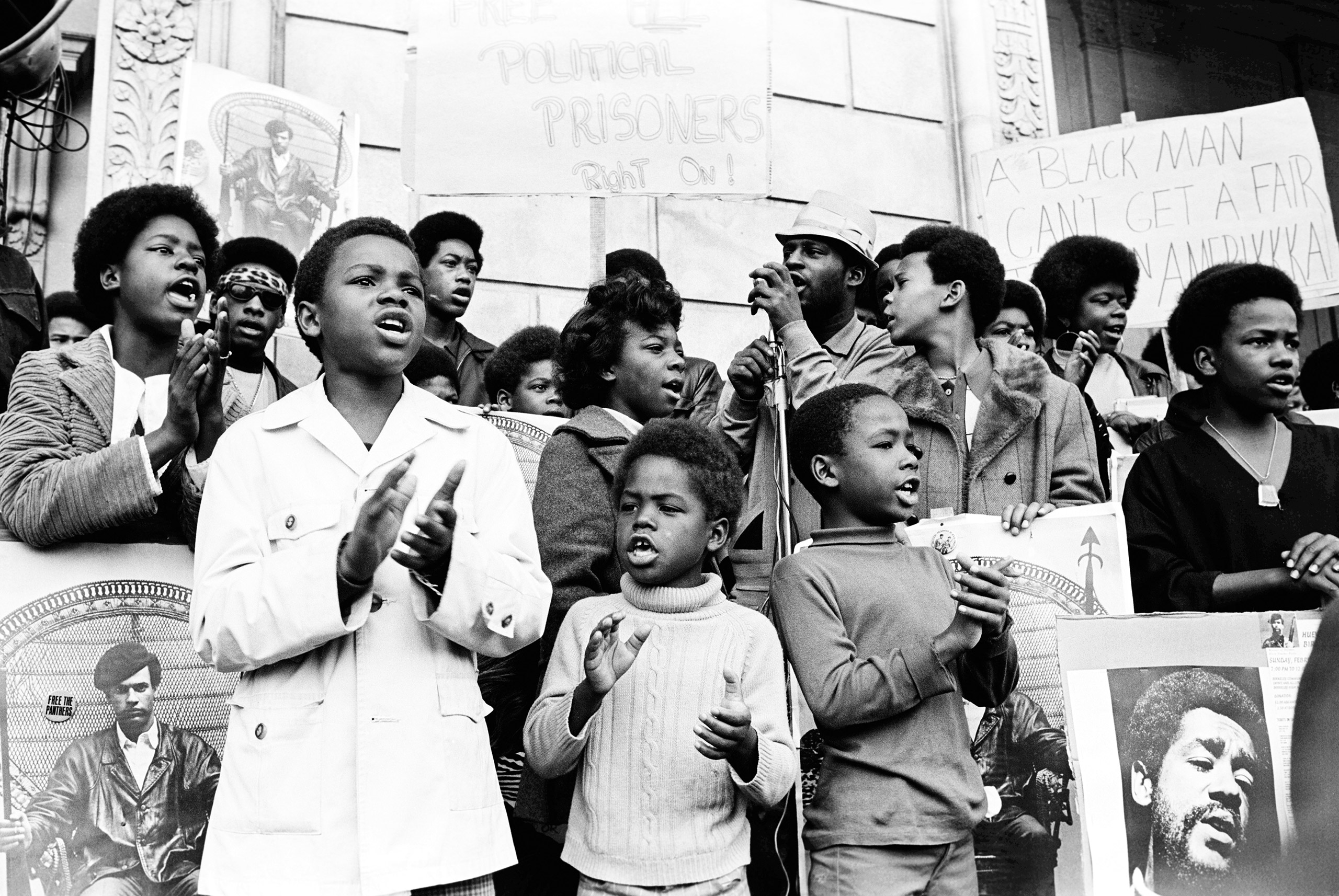 Free Huey / Free Bobby rally in front of the Federal Building, San Francisco, February 1970.