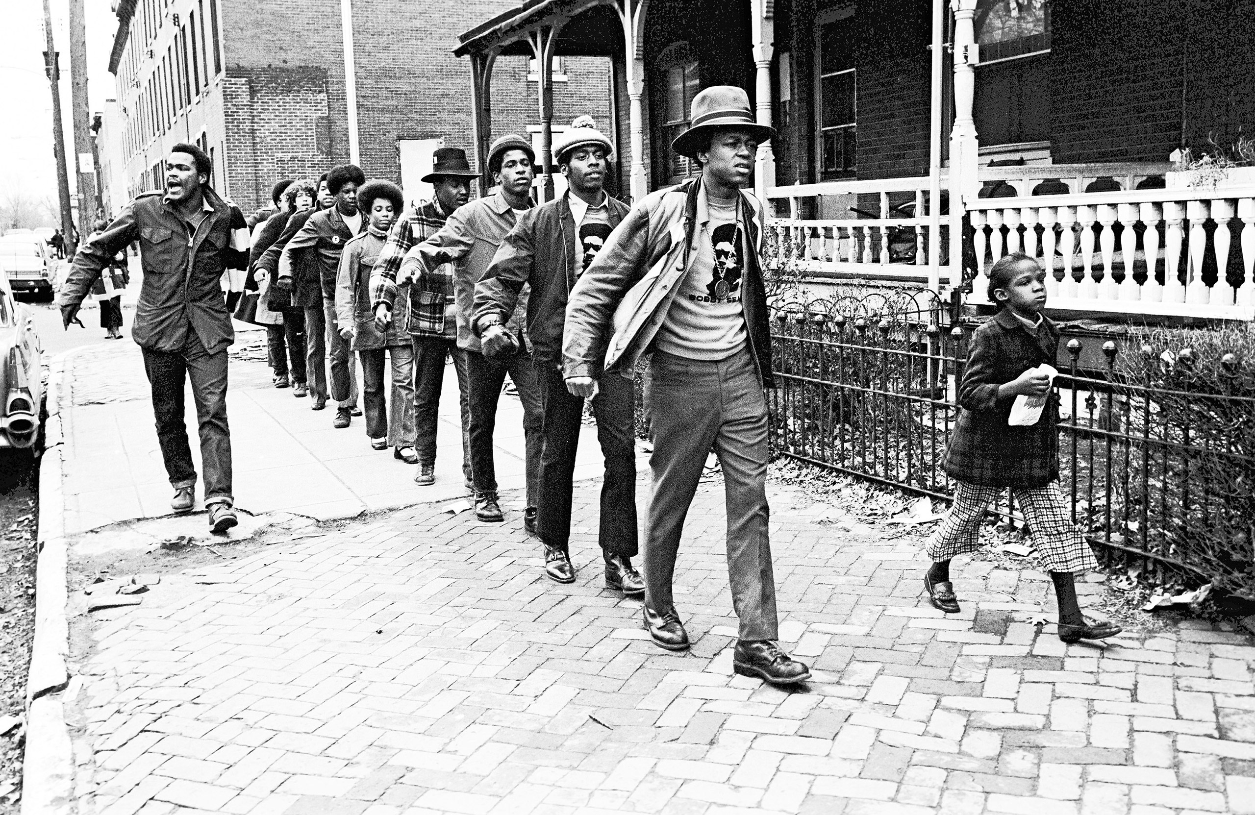 Panthers march through West Philadephia with Khalid Raheem in the lead, 1971.