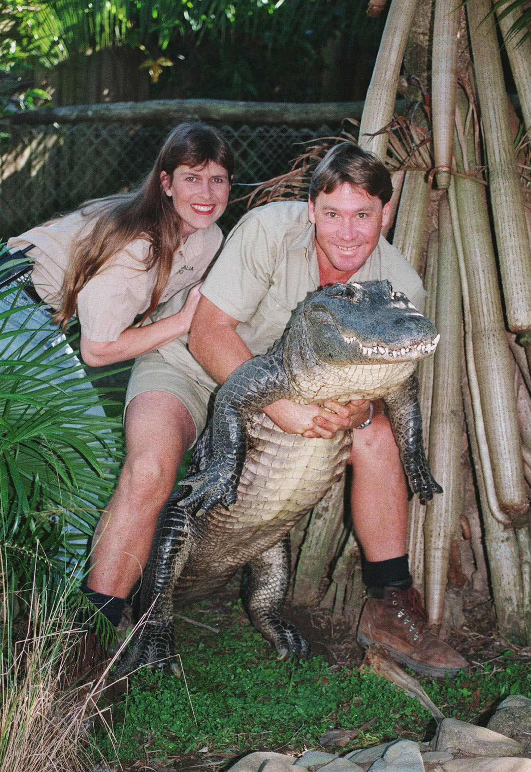 Steve Irwin, holding a nine-foot female alligator, and his wife Terri at their  Australia Zoo  in Beerwah, Australia, on June 18, 1999.