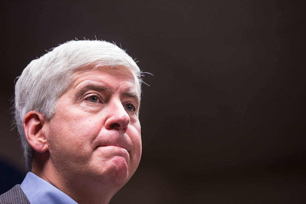 Michigan Gov. Rick Snyder is pictured on Jan. 27, 2016 at Flint City Hall in Flint, Michigan.