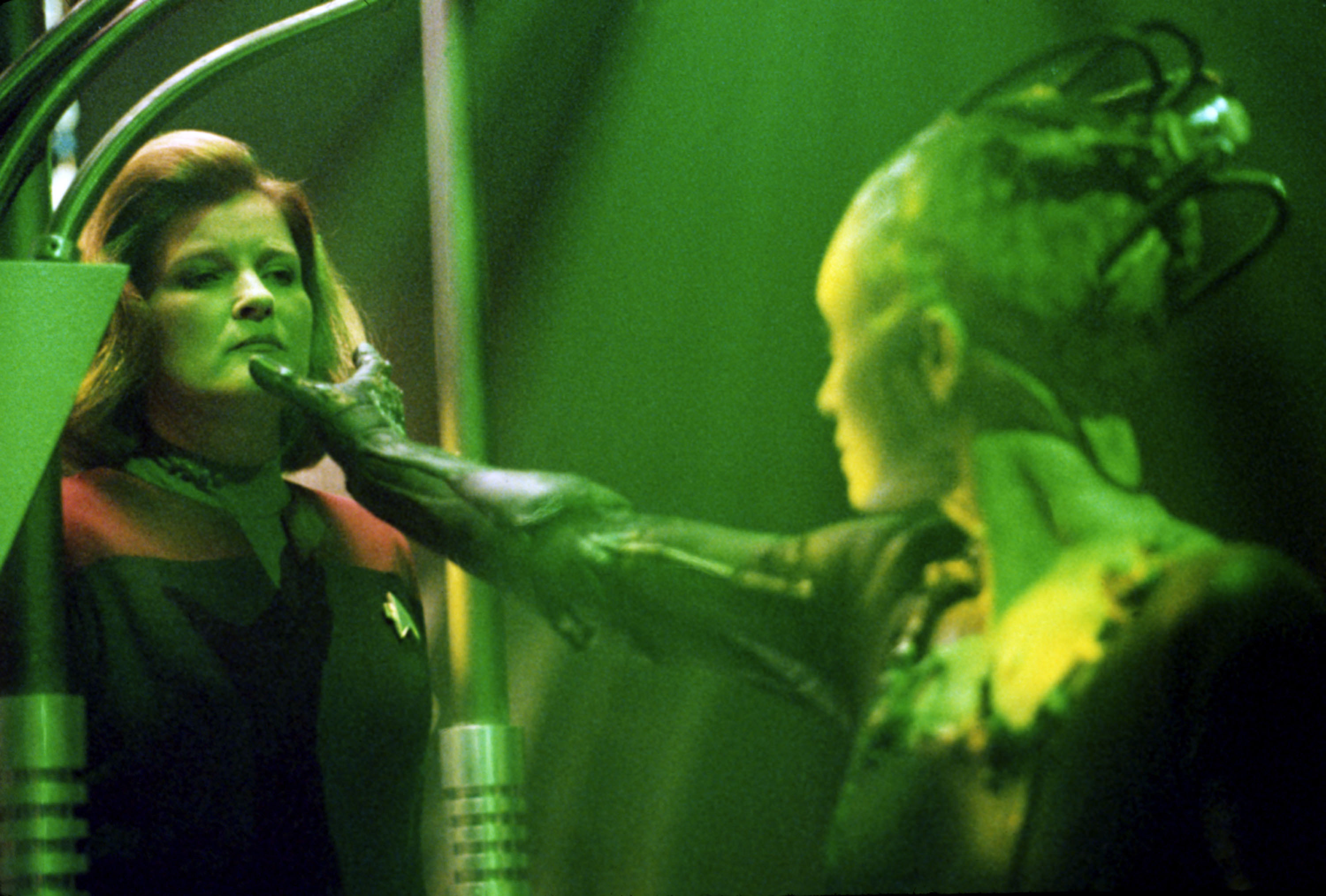 Actress Kate Mulgrew (Left) Stars As (Captain Kathryn Janeway) And Susanna Thompson Stars As (The Borg Queen) In United Paramount Network's Sci-Fi Television Series  Star Trek: Voyager.
