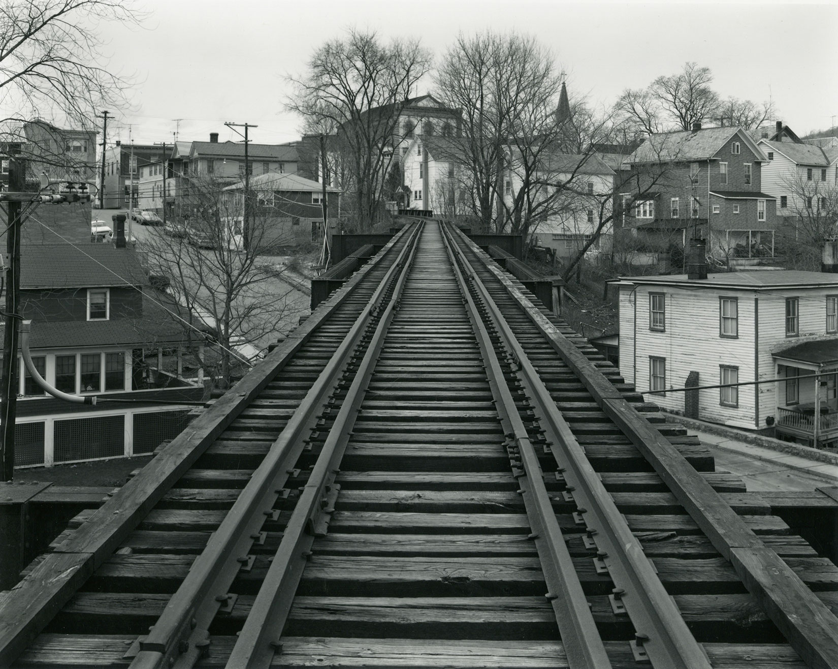 Urban Landscapes, Joseph Bellows Gallery, Calif.: Sept. 10 - Oct. 28                                                                                              (Caption: George Tice, Railroad Bridge, High Bridge, N.J., 1974)