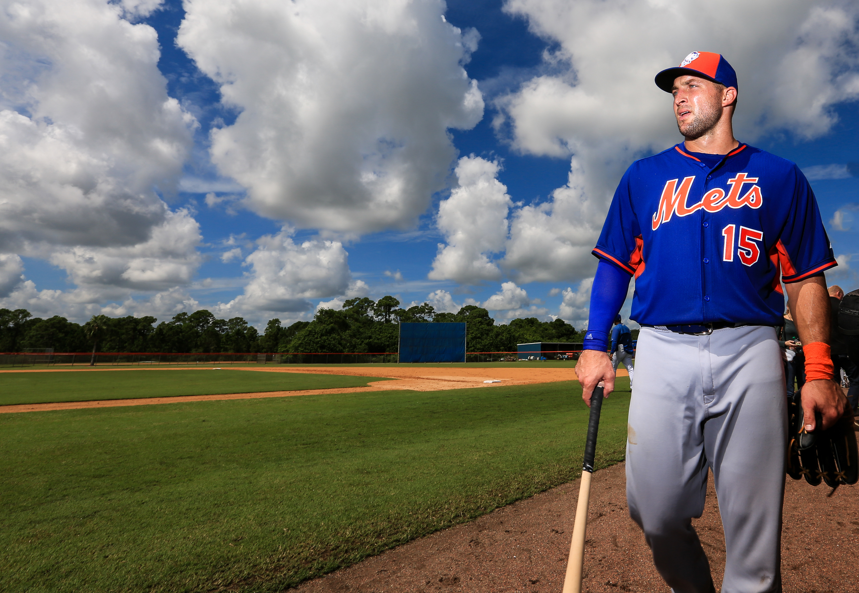 Tim Tebow of the New York Mets works out at an instructional league day at Tradition Field on Sept. 20, in Port St. Lucie, Florida.