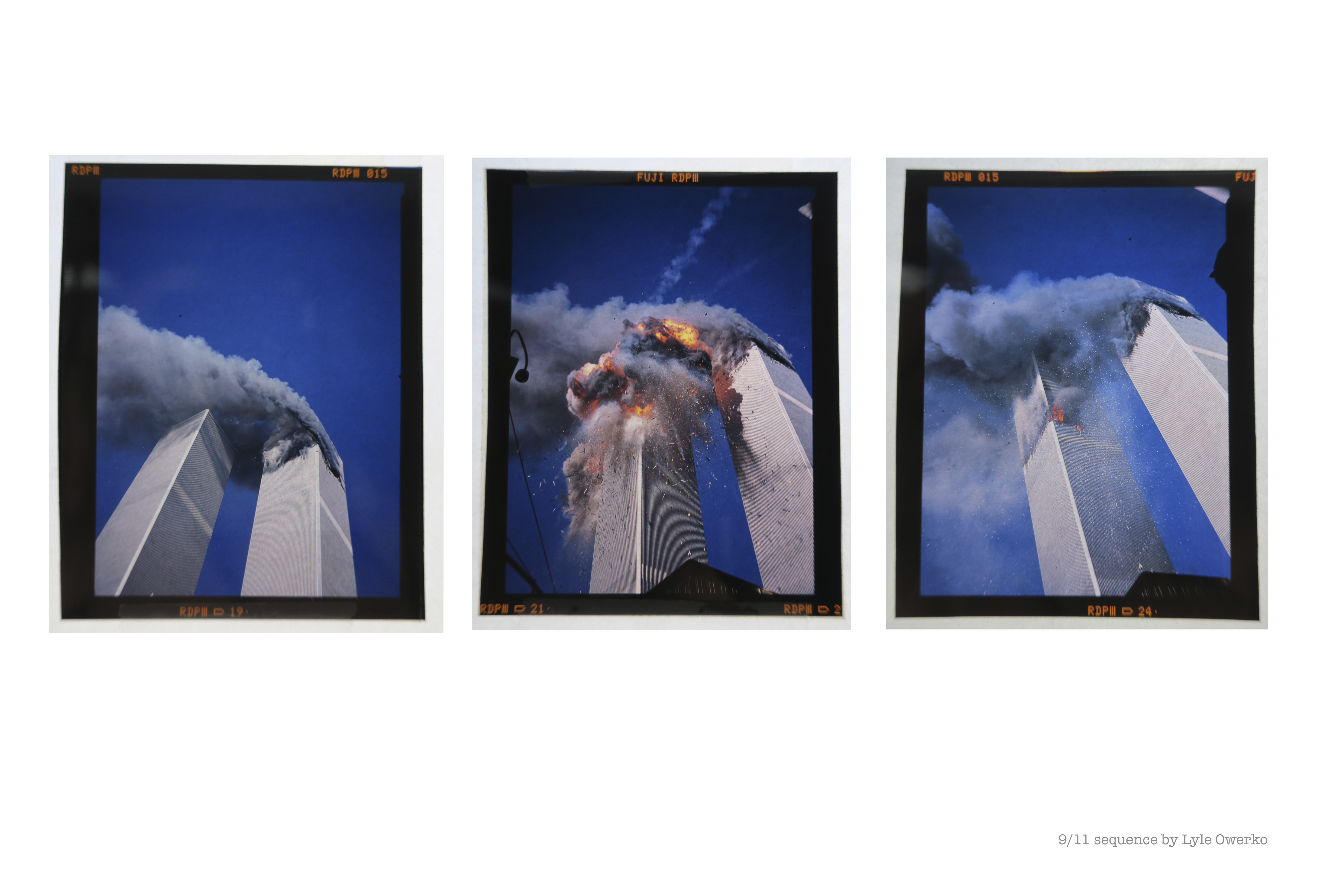 Three consecutive frames of the World Trade Center on the morning of 9/11 shot by photographer Lyle Owerko.
