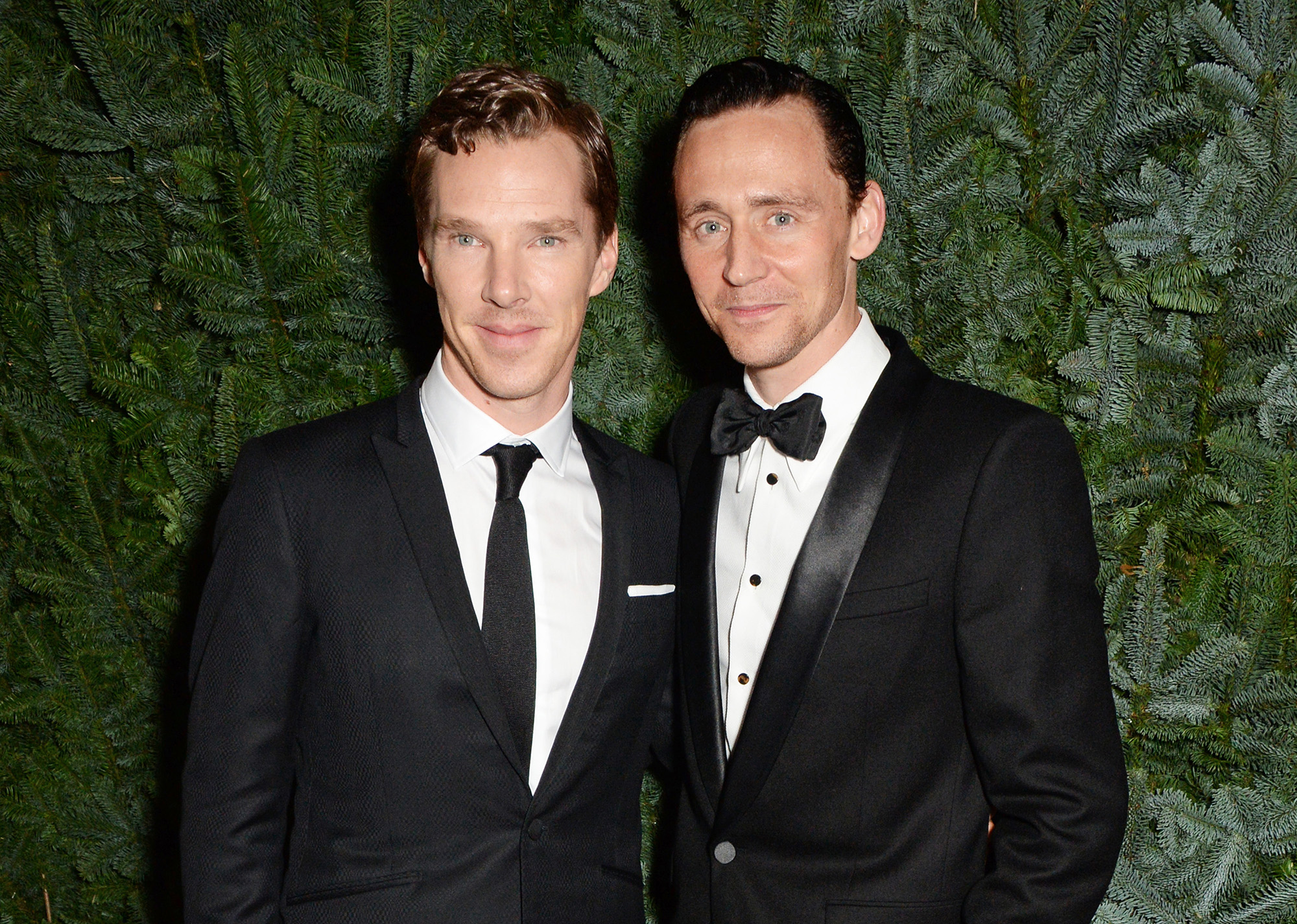 Benedict Cumberbatch and Tom Hiddleston attend a champagne reception at the 60th London Evening Standard Theatre Awards at the London Palladium on November 30, 2014 in London, England.  (Photo by David M. Benett/Getty Images)