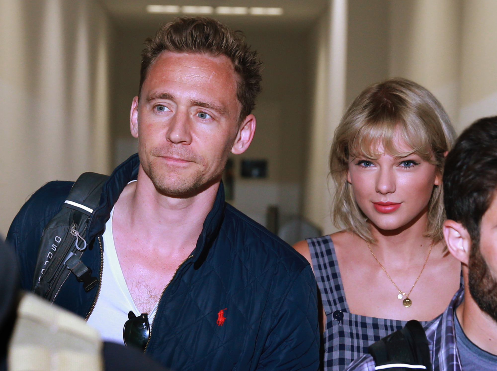 Actor Tom Hiddleston and singer Taylor Swift arrive at Sydney International Airport in Sydney, New South Wales. The couple are then believed to have got a connecting flight to the Gold Coast. (Photo by Cameron Richardson/Newspix/Getty Images)