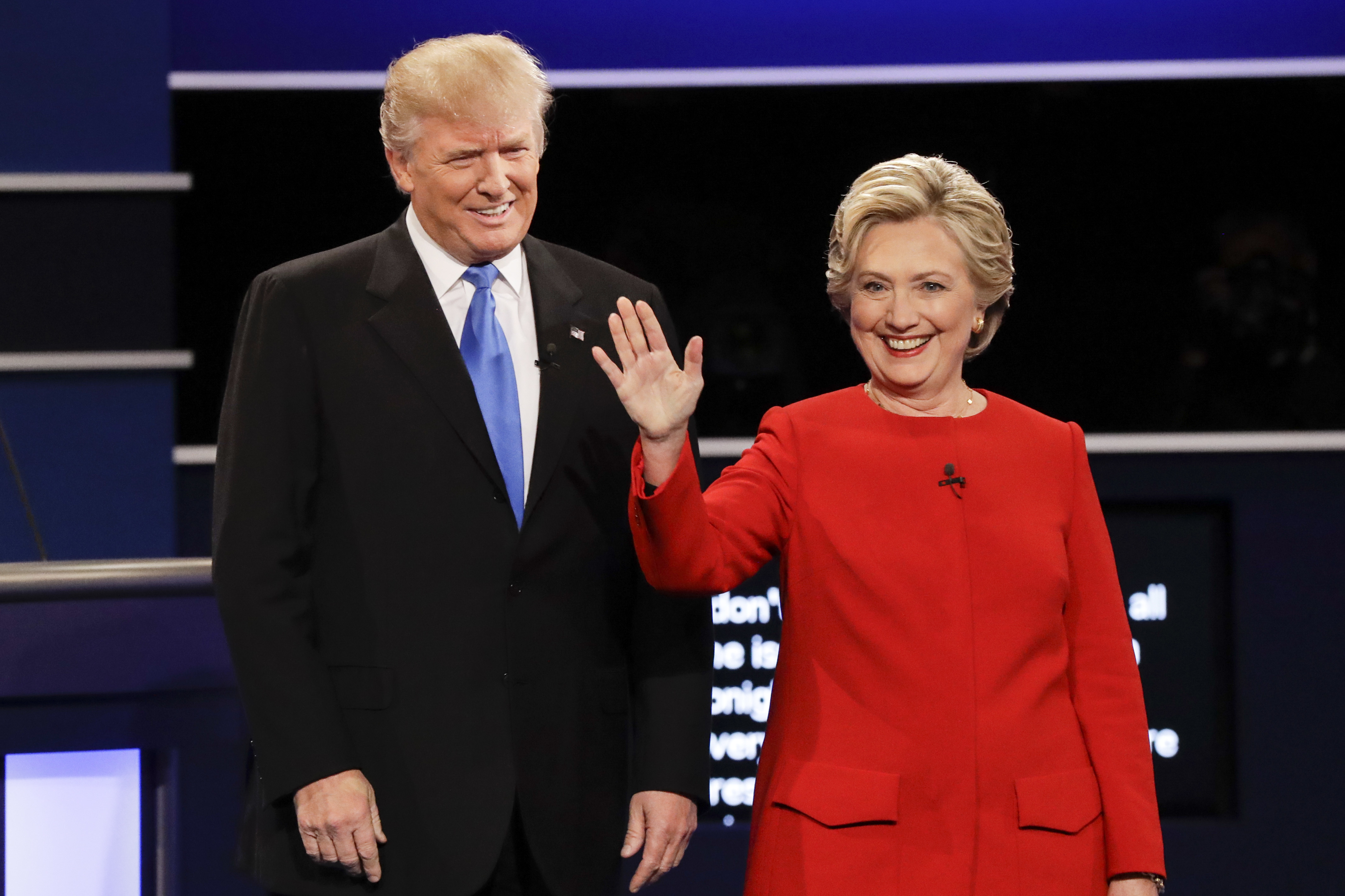 Donald Trump and Hillary Clinton are introduced during the presidential debate at Hofstra University in Hempstead, NY on Sept. 26, 2016.