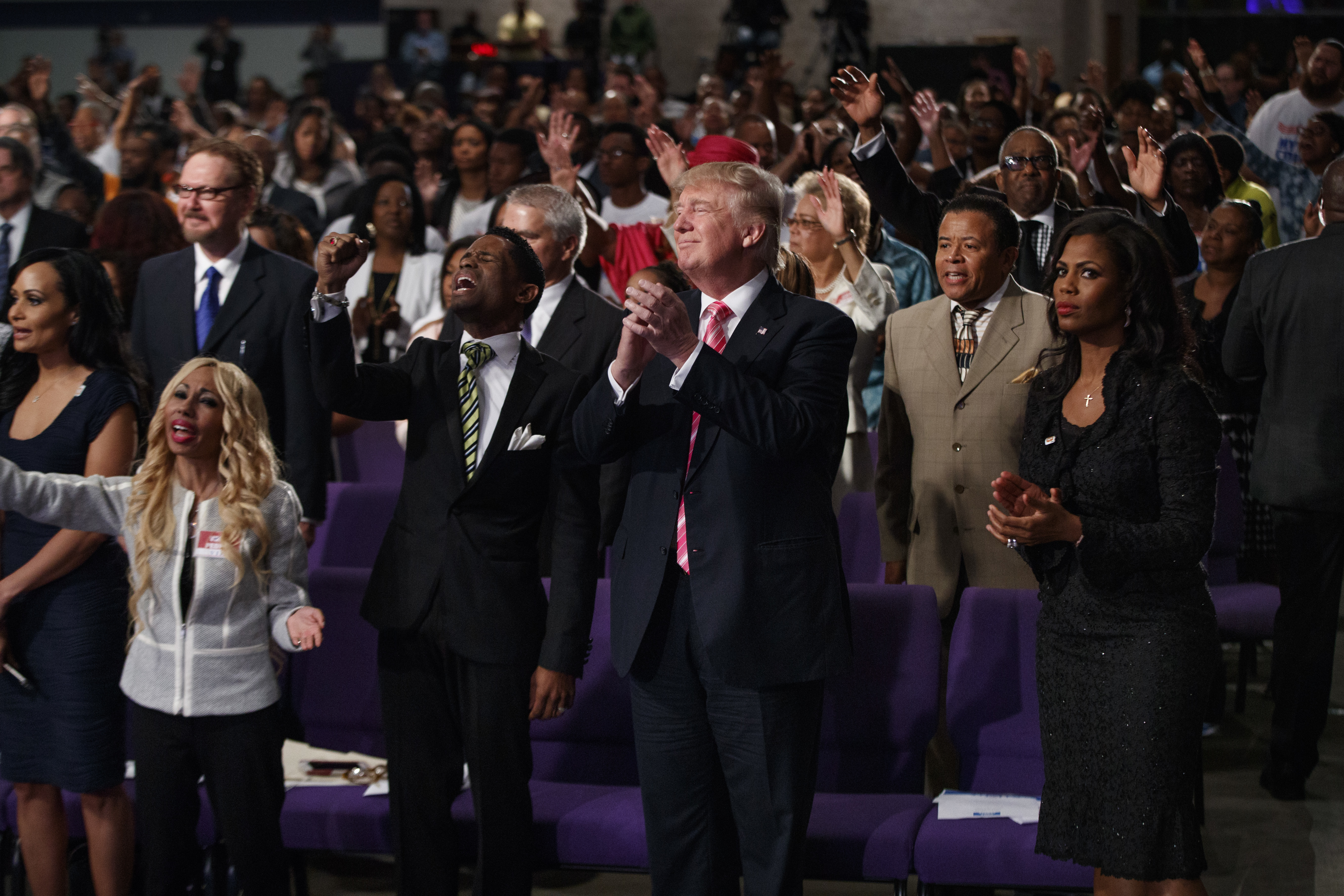 Donald Trump shown during a church service at Great Faith Ministries, Detroit, on Sept. 3, 2016.