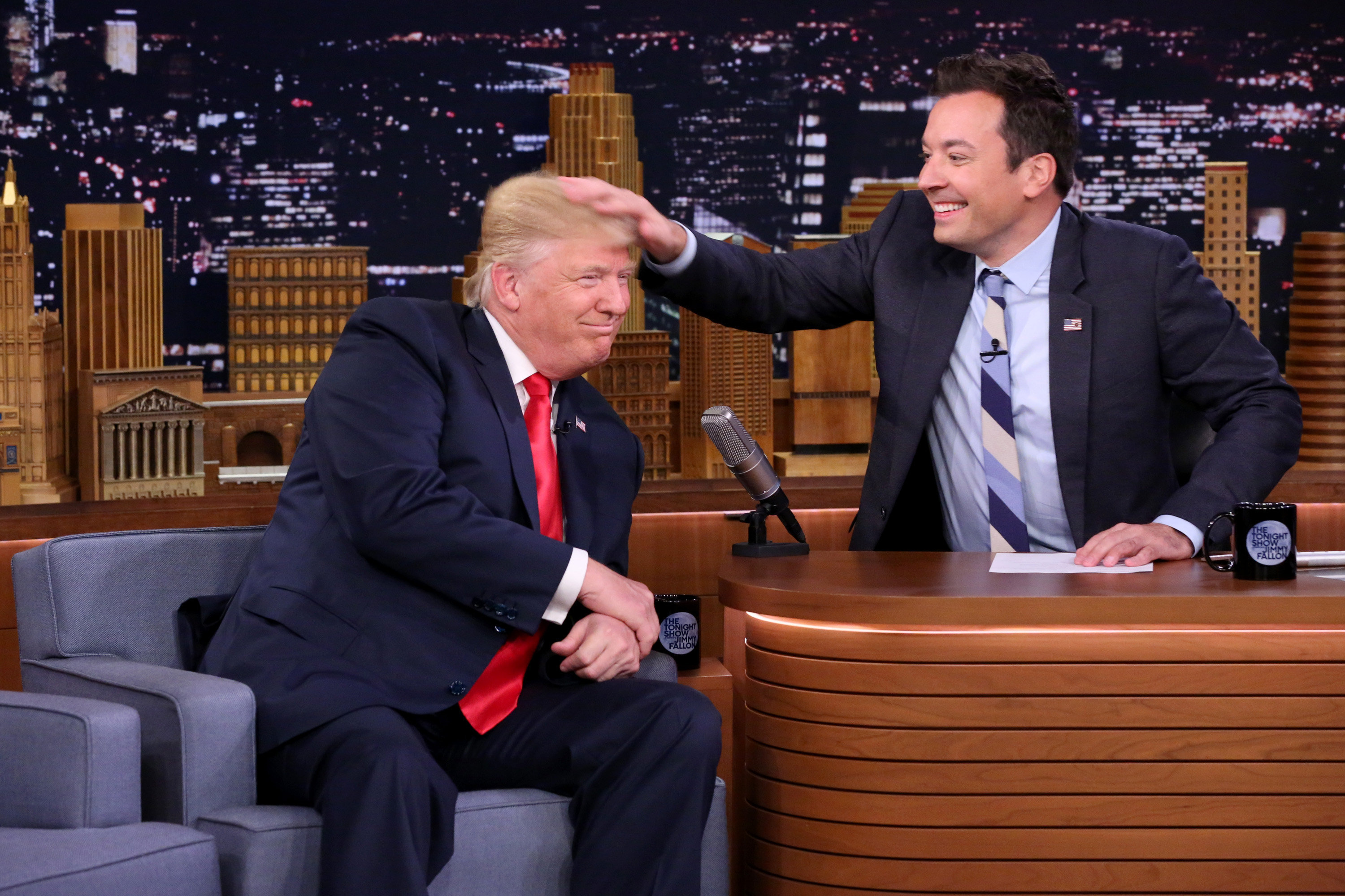 Donald Trump appears with host Jimmy Fallon during a taping of  The Tonight Show Starring Jimmy Fallon  on Sept. 15, 2016.