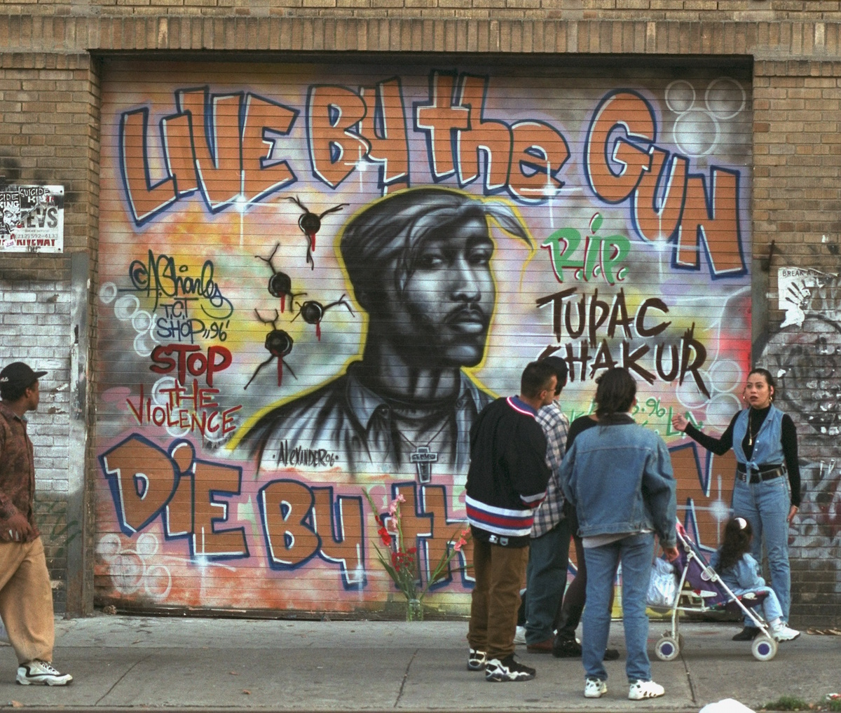 A memorial to the late Tupac Shakur on the Lower East Side of New York City in September of 1996