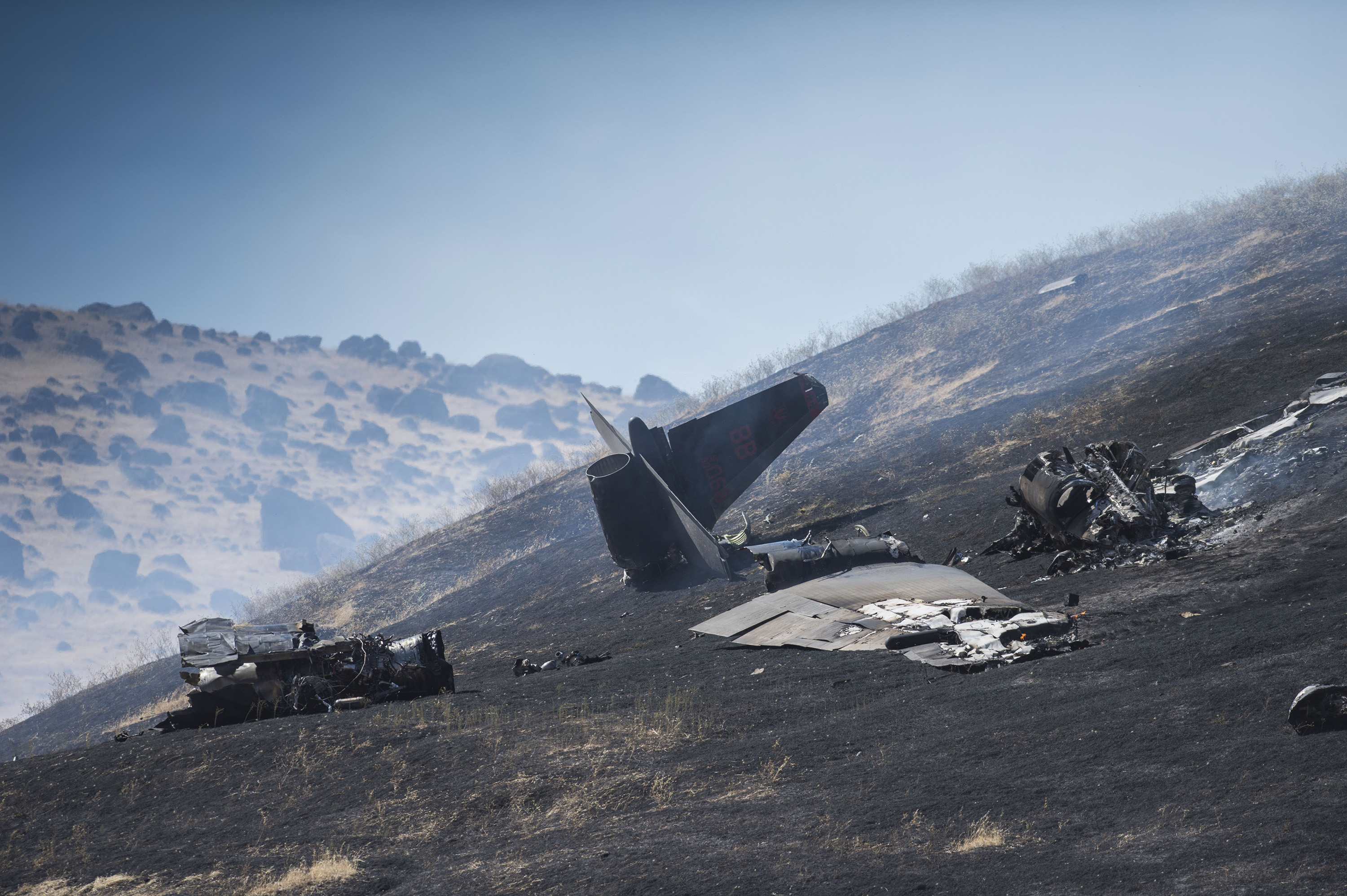 An aircraft assigned to the 1st Reconnaissance Squadron at Beale Air Force Base and on a training mission went down on the lower slopes of the Sutter Buttes on Sept. 20, 2016.