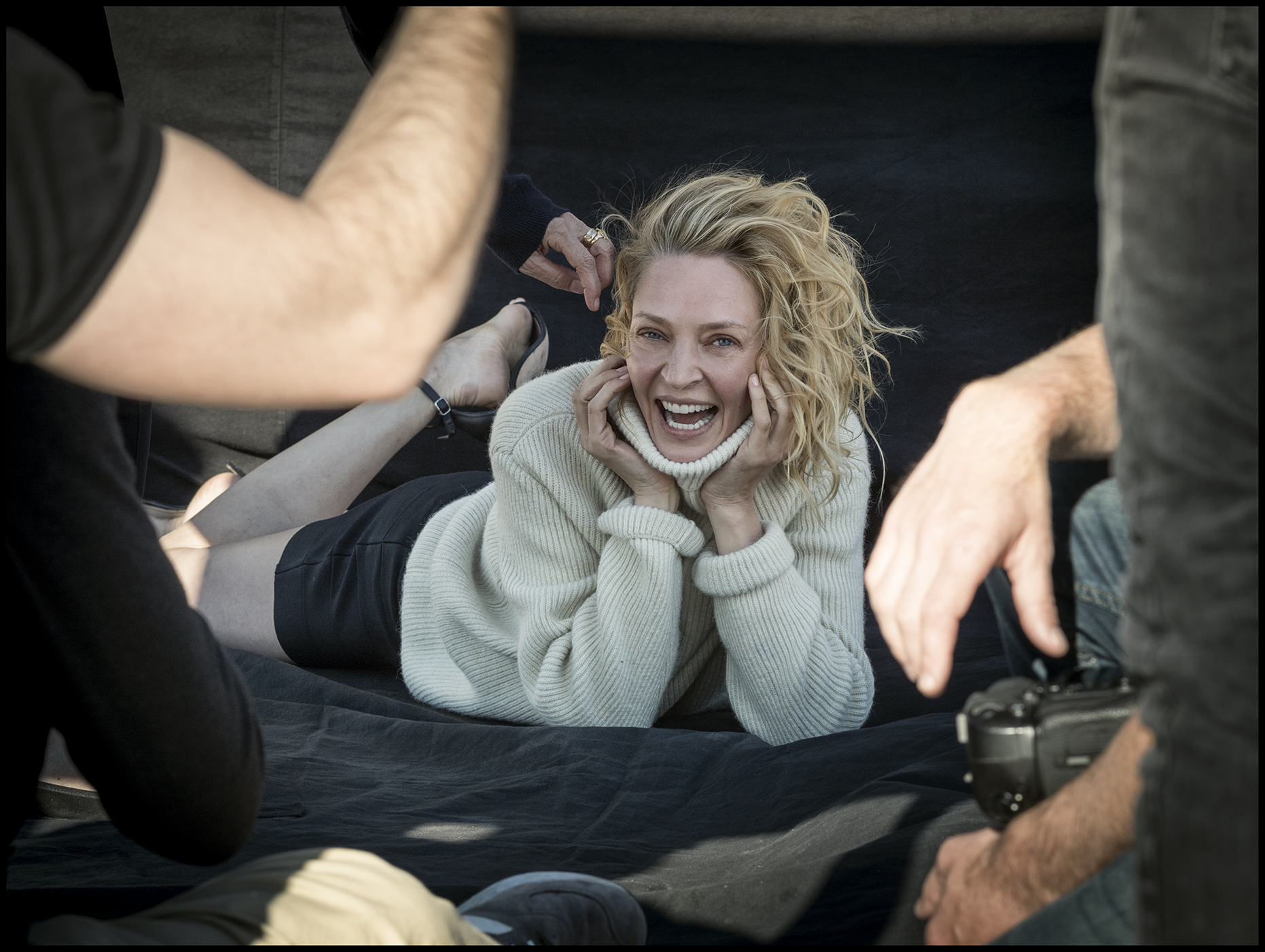 Uma Thurman - The behind the scenes imagery from the 2017 Pirelli Calendar by Peter Linbergh  by Alessandro Scotti.