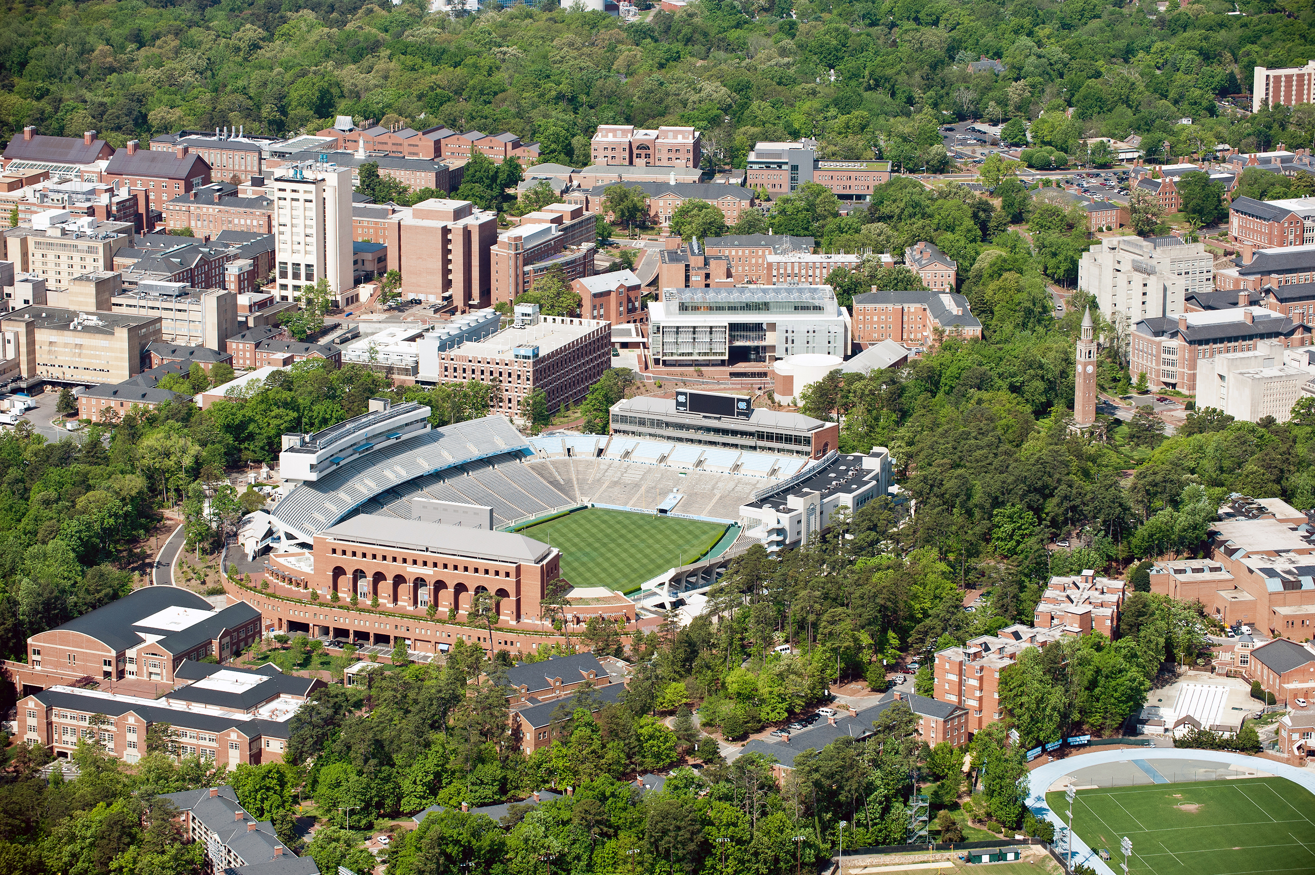 An aerial view of the University of North Carolina campus in Chapel Hill, North Carolina on April 21, 2013.